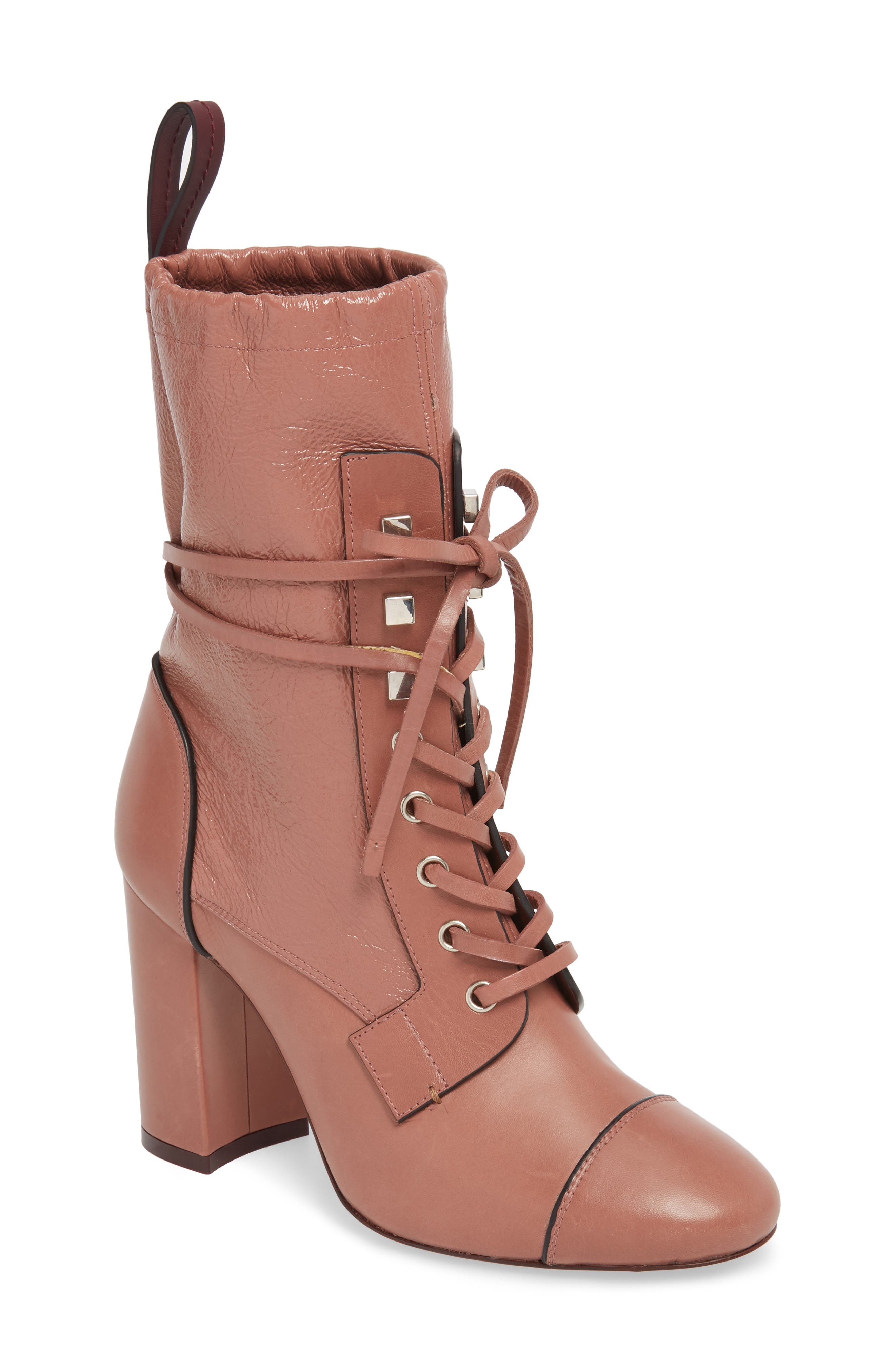 Veruka Lace-Up Boot,                         Main,                         color, ROSE CLAY GLEAMING