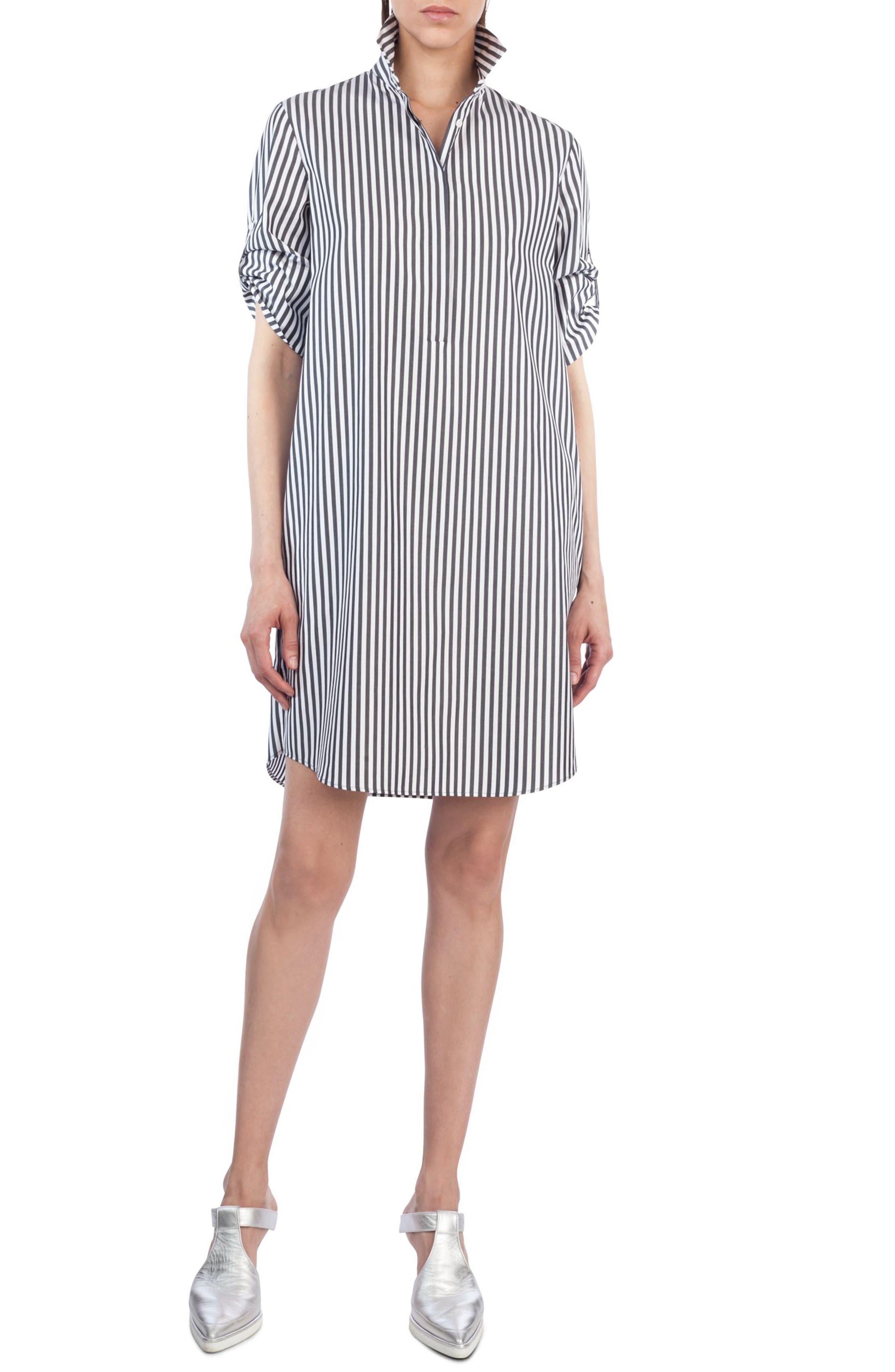 Stripe Cotton Shirtdress,                             Main thumbnail 1, color,                             960