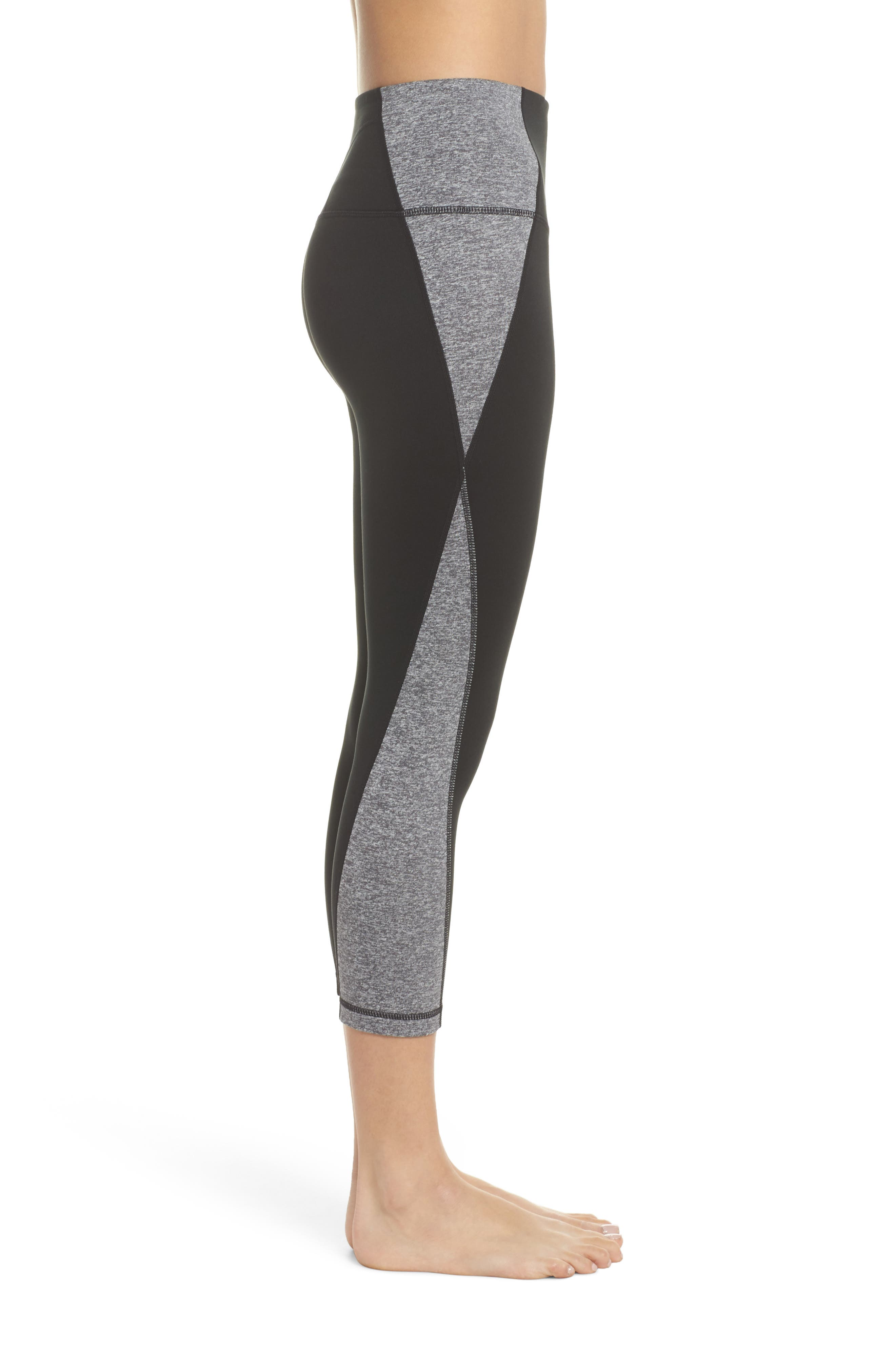 Sporty Splice High Waist Crop Leggings,                             Alternate thumbnail 8, color,