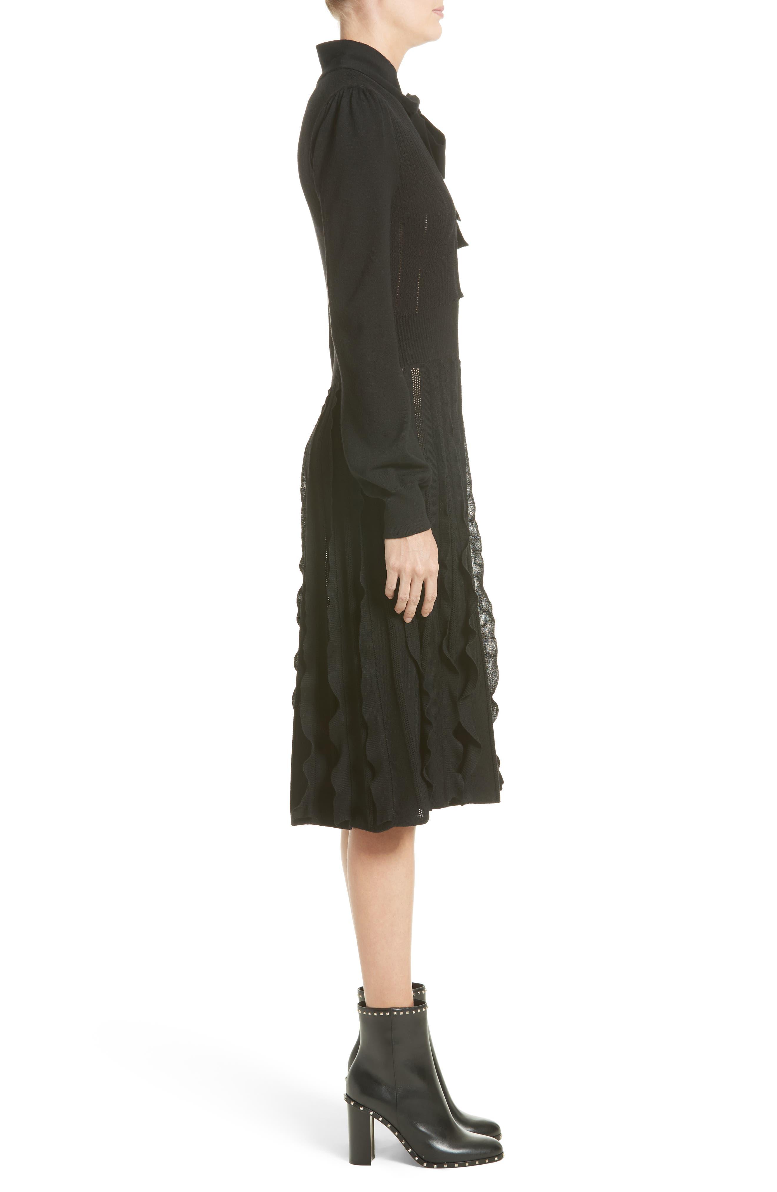 Ruffle Skirt Wool Knit Dress,                             Alternate thumbnail 3, color,                             001