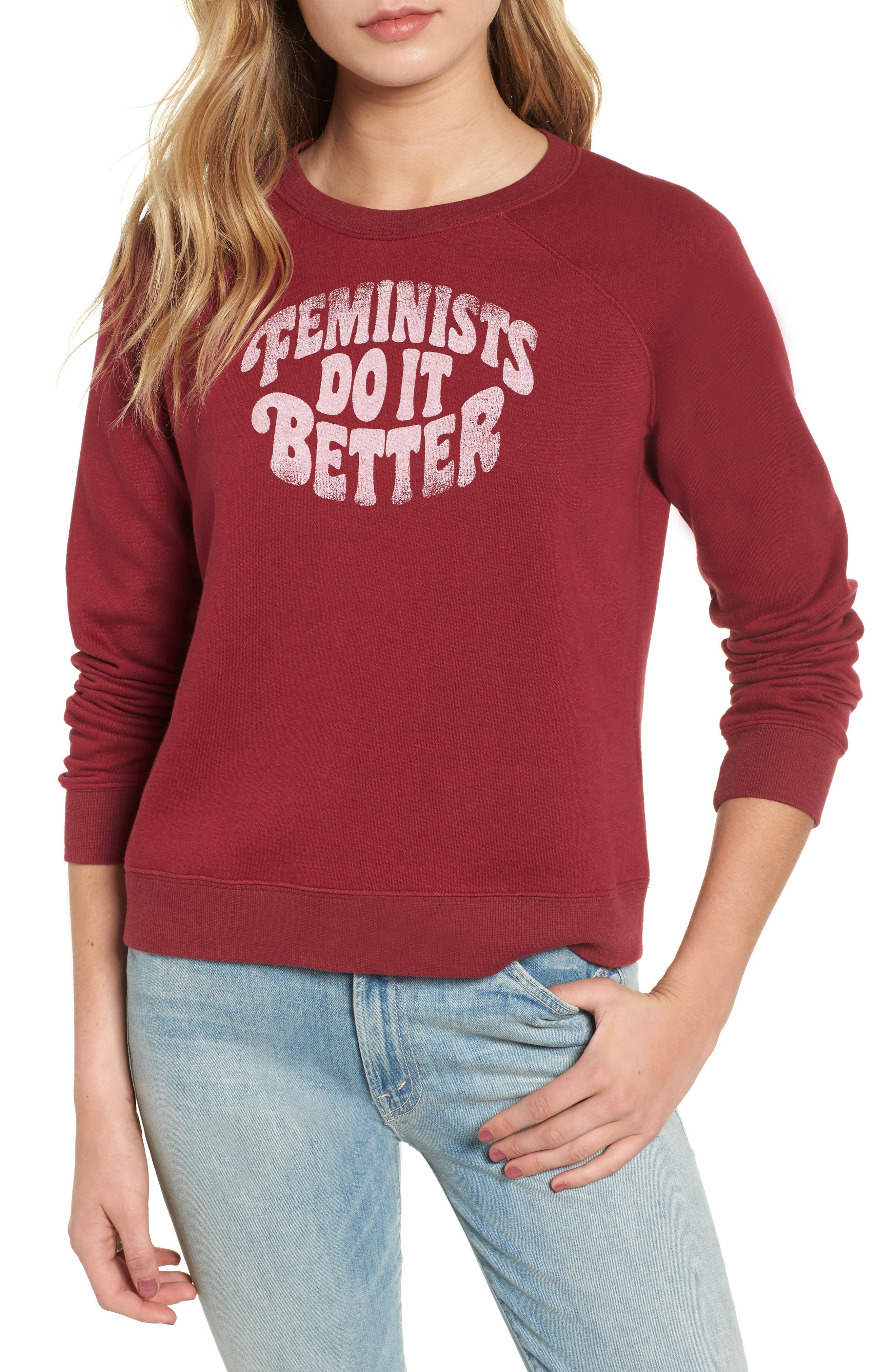 Jennings Feminists Do It Better Sweatshirt,                             Main thumbnail 1, color,                             DARK RED/ WHITE