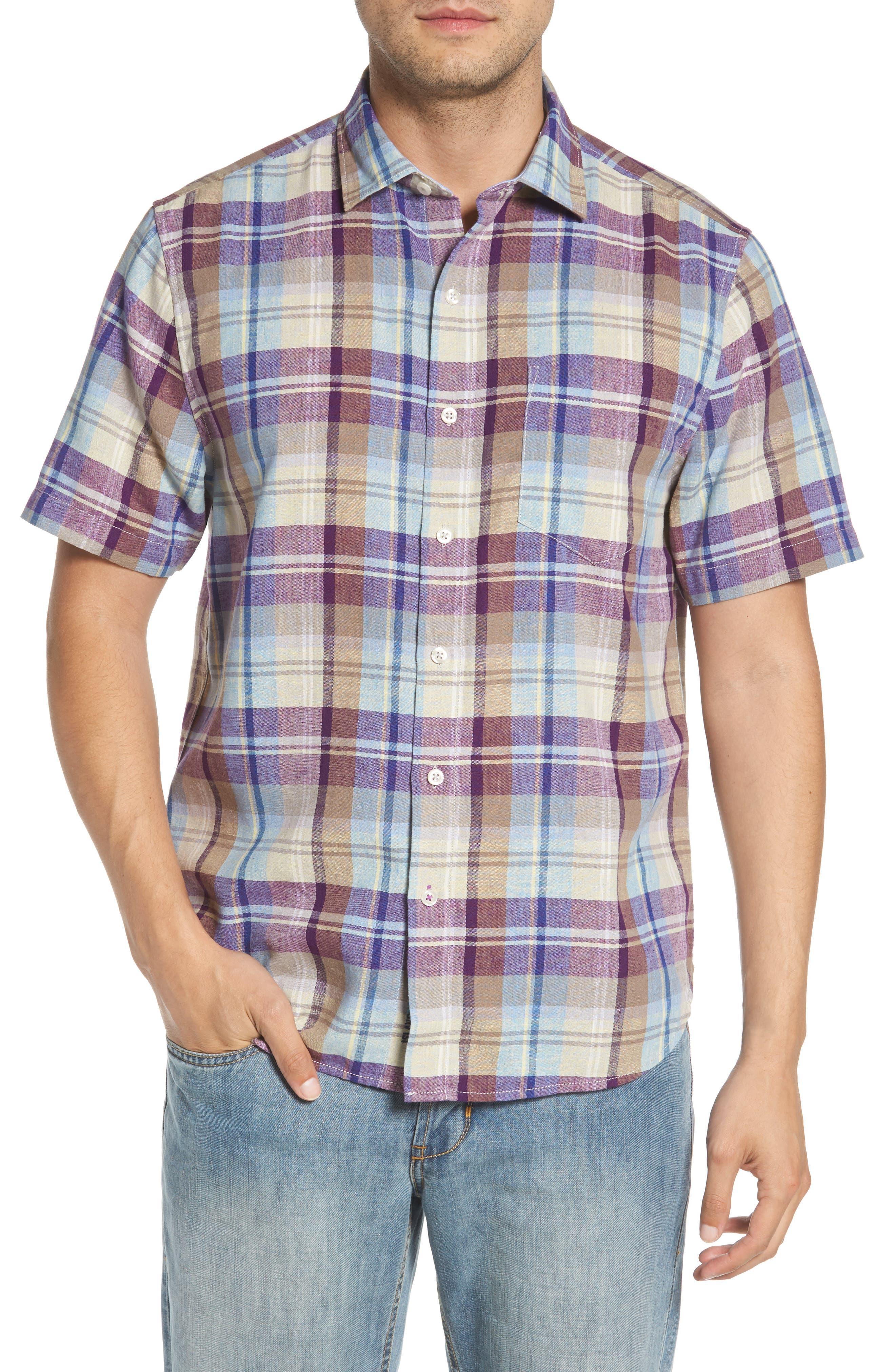 La Paz Plaid Linen Blend Sport Shirt,                         Main,                         color, 500