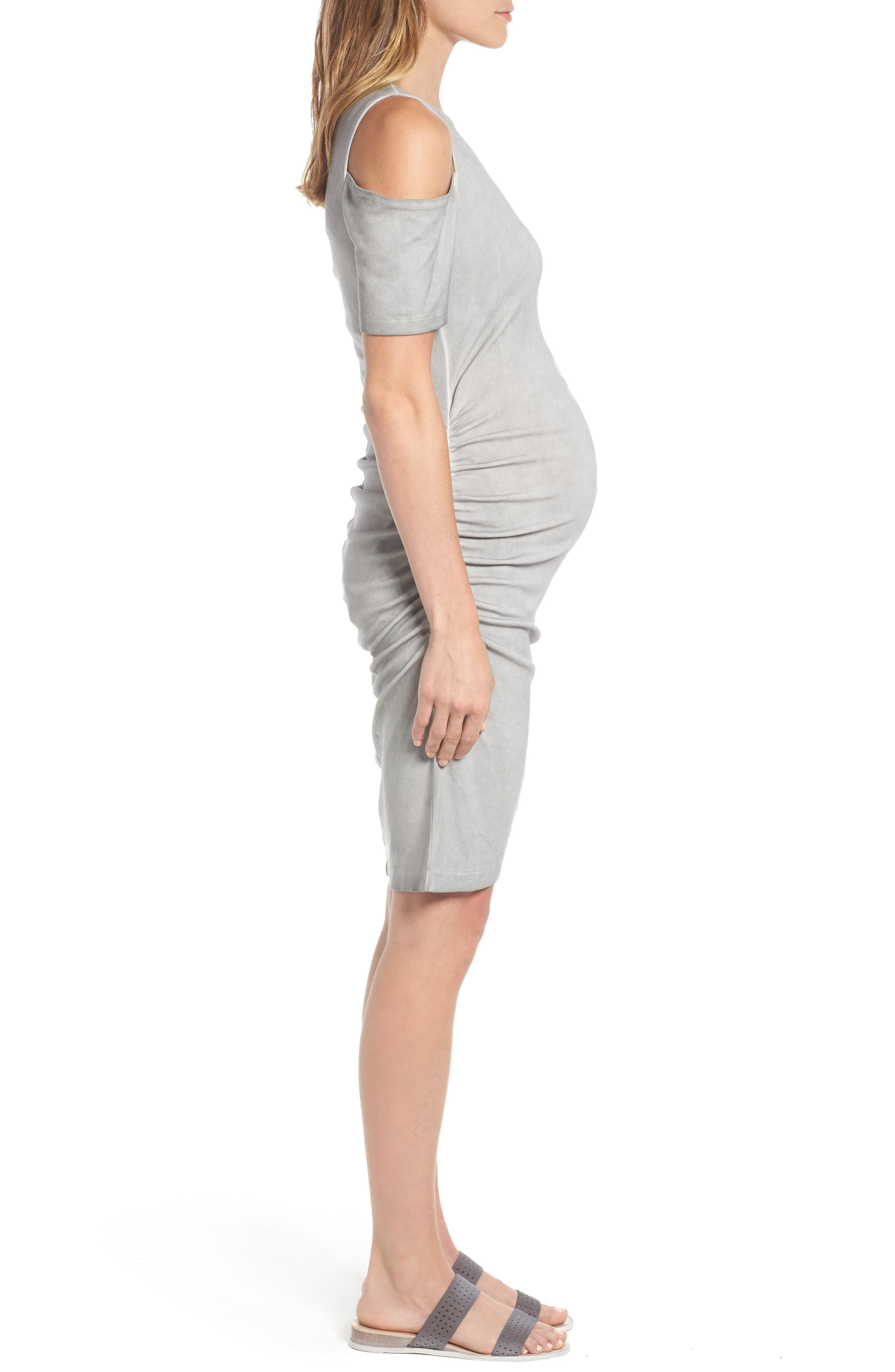 Rosie Cold Shoulder Body-Con Maternity Dress,                             Alternate thumbnail 3, color,                             007