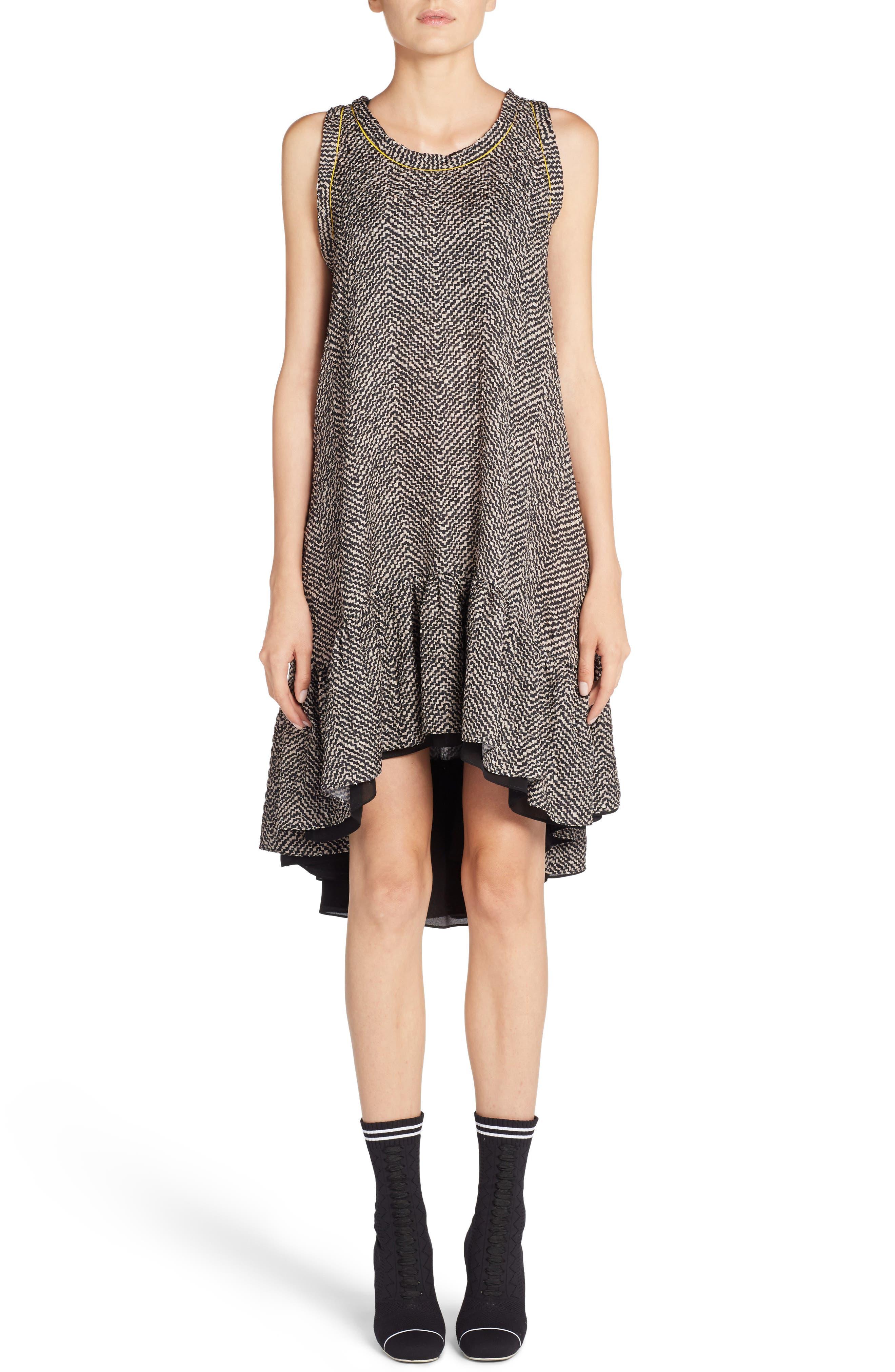 Pop Chevron Cloqué Swing Dress,                         Main,                         color, 001