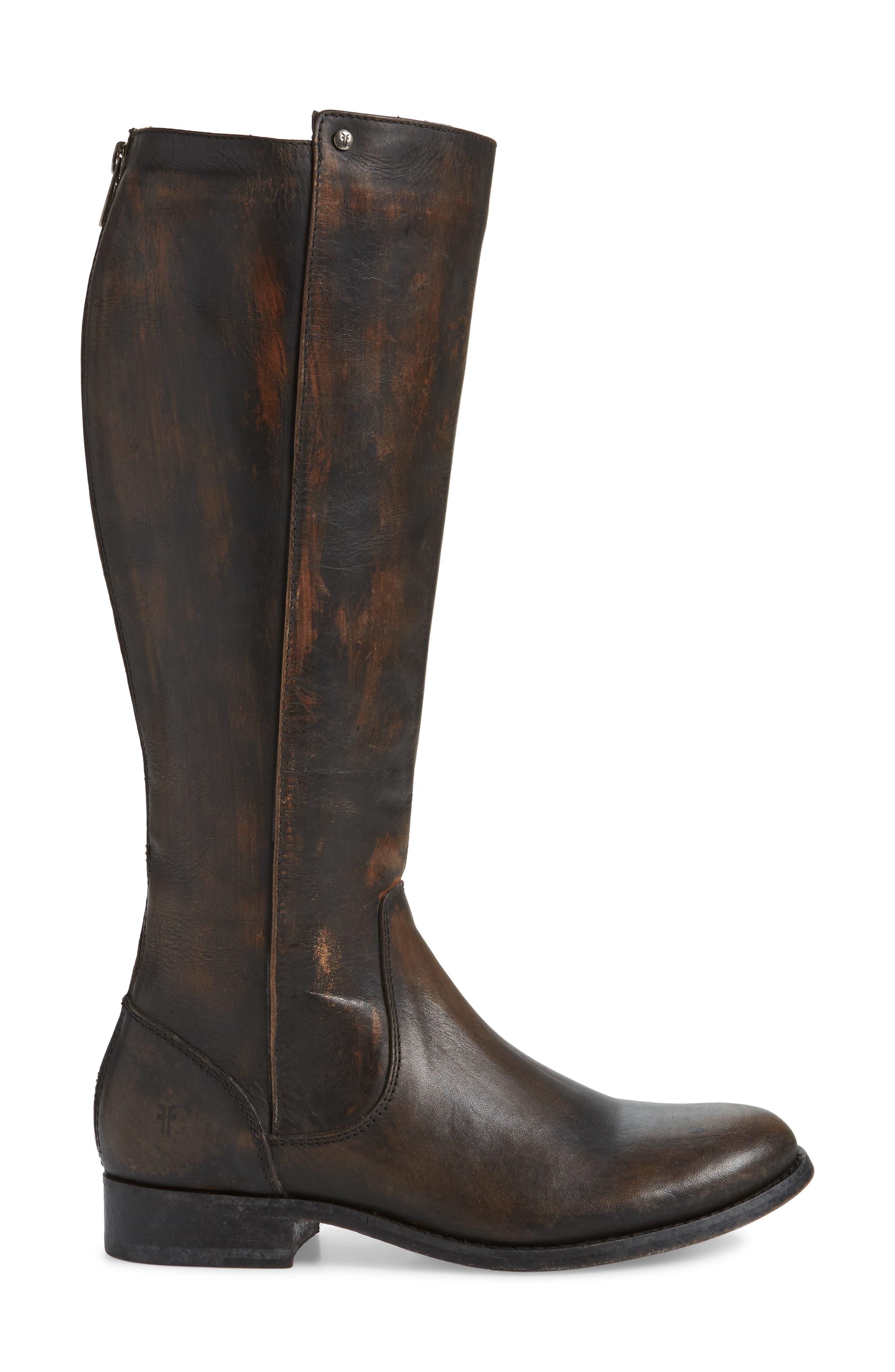 Melissa Stud Knee High Boot,                             Alternate thumbnail 3, color,                             BLACK LEATHER