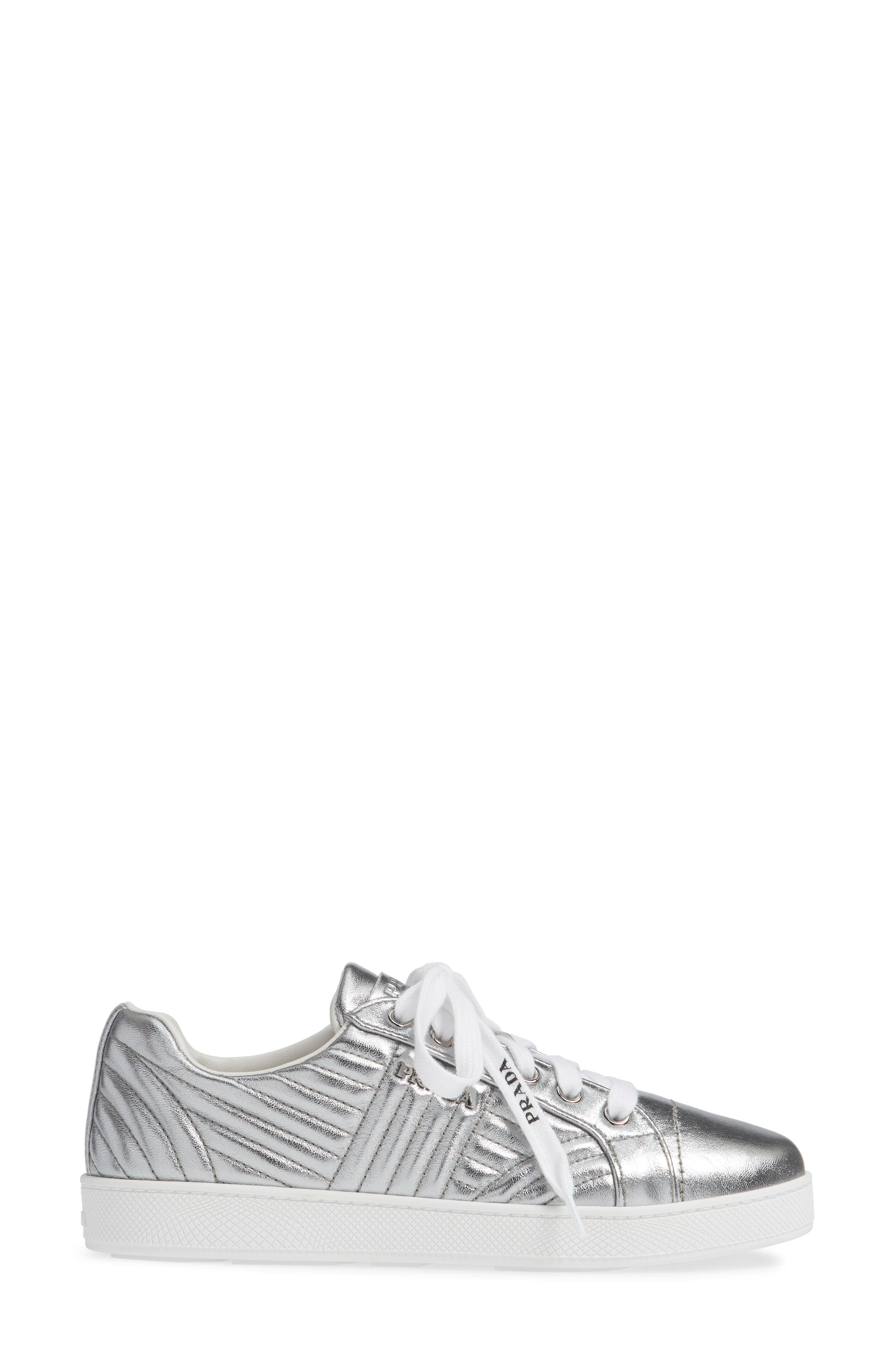 Quilted Leather Sneaker,                             Alternate thumbnail 3, color,                             SILVER