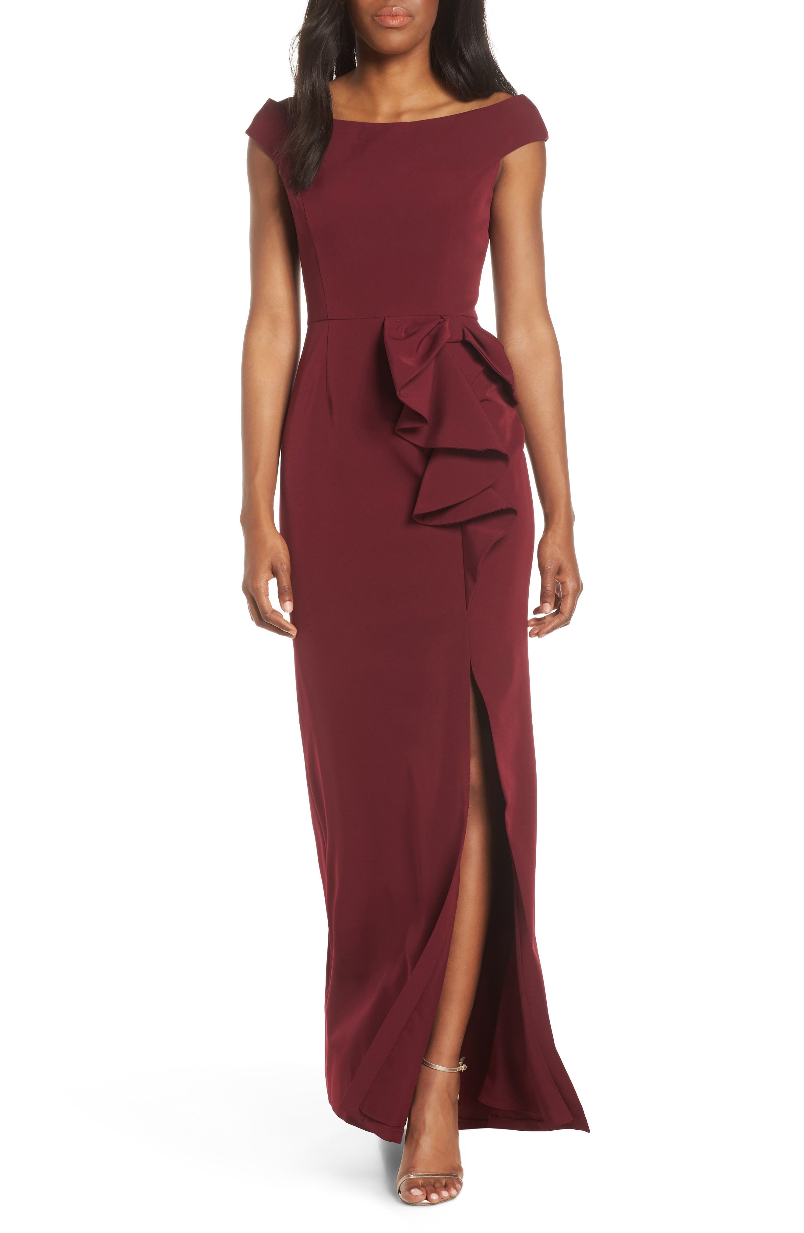 Vince Camuto Bow Ruffle Scuba Crepe Gown, Burgundy