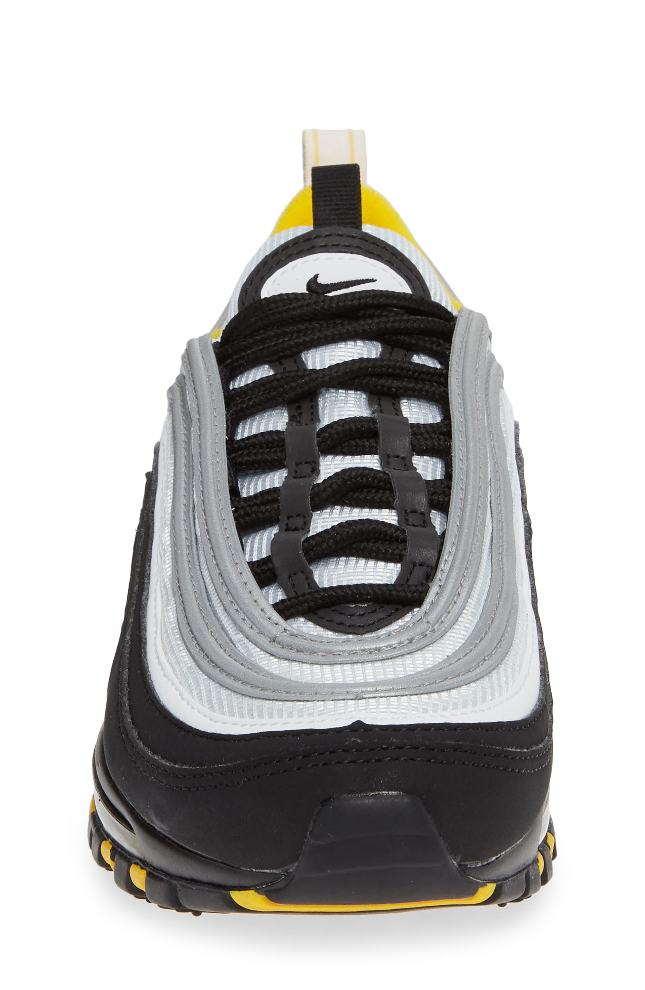 Air Max 97 Sneaker,                             Alternate thumbnail 4, color,                             BLACK/ WHITE/ AMARILLO