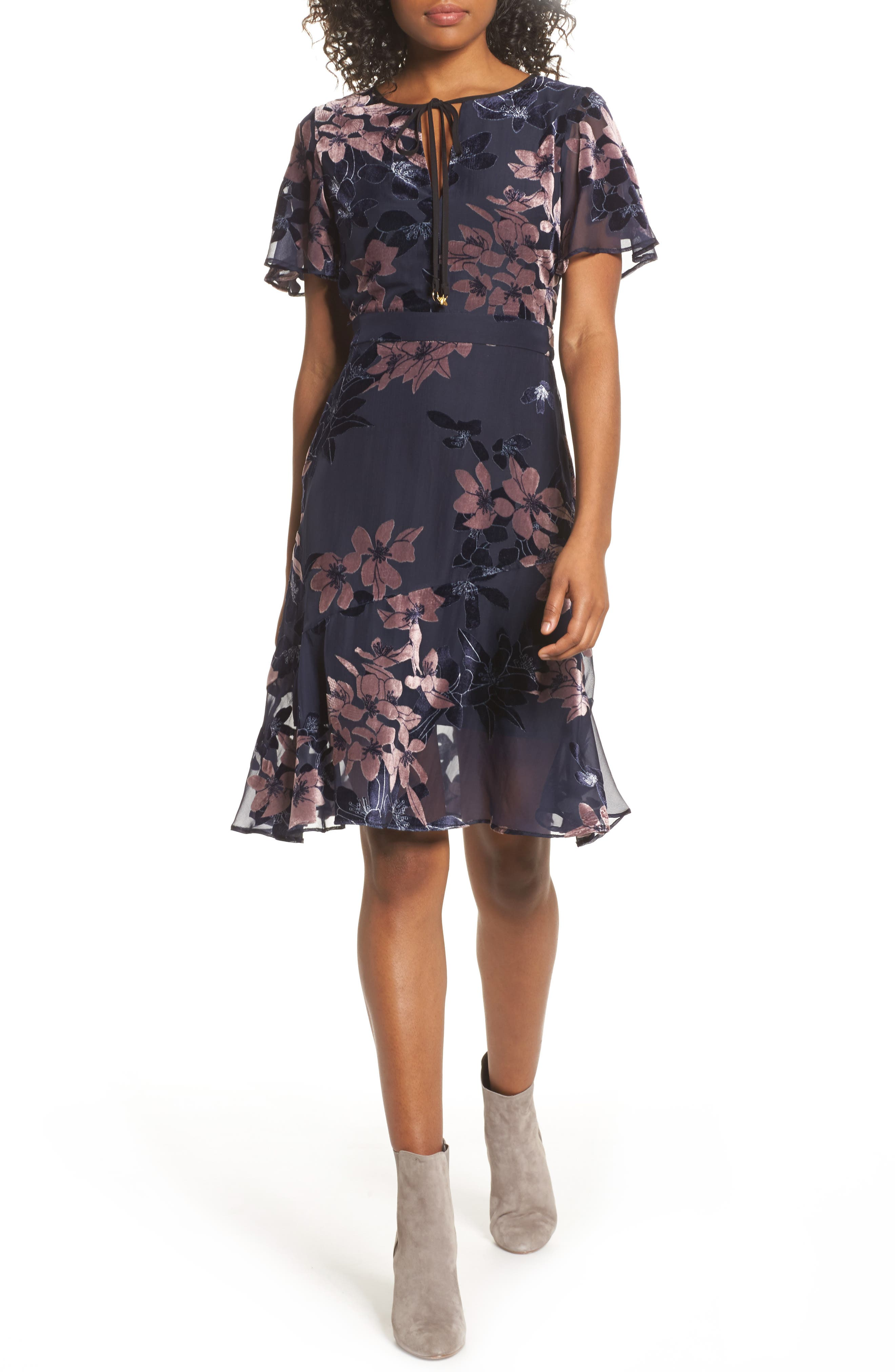 Burnout Floral Flare Hem Dress,                             Main thumbnail 1, color,                             BLUE MULTI