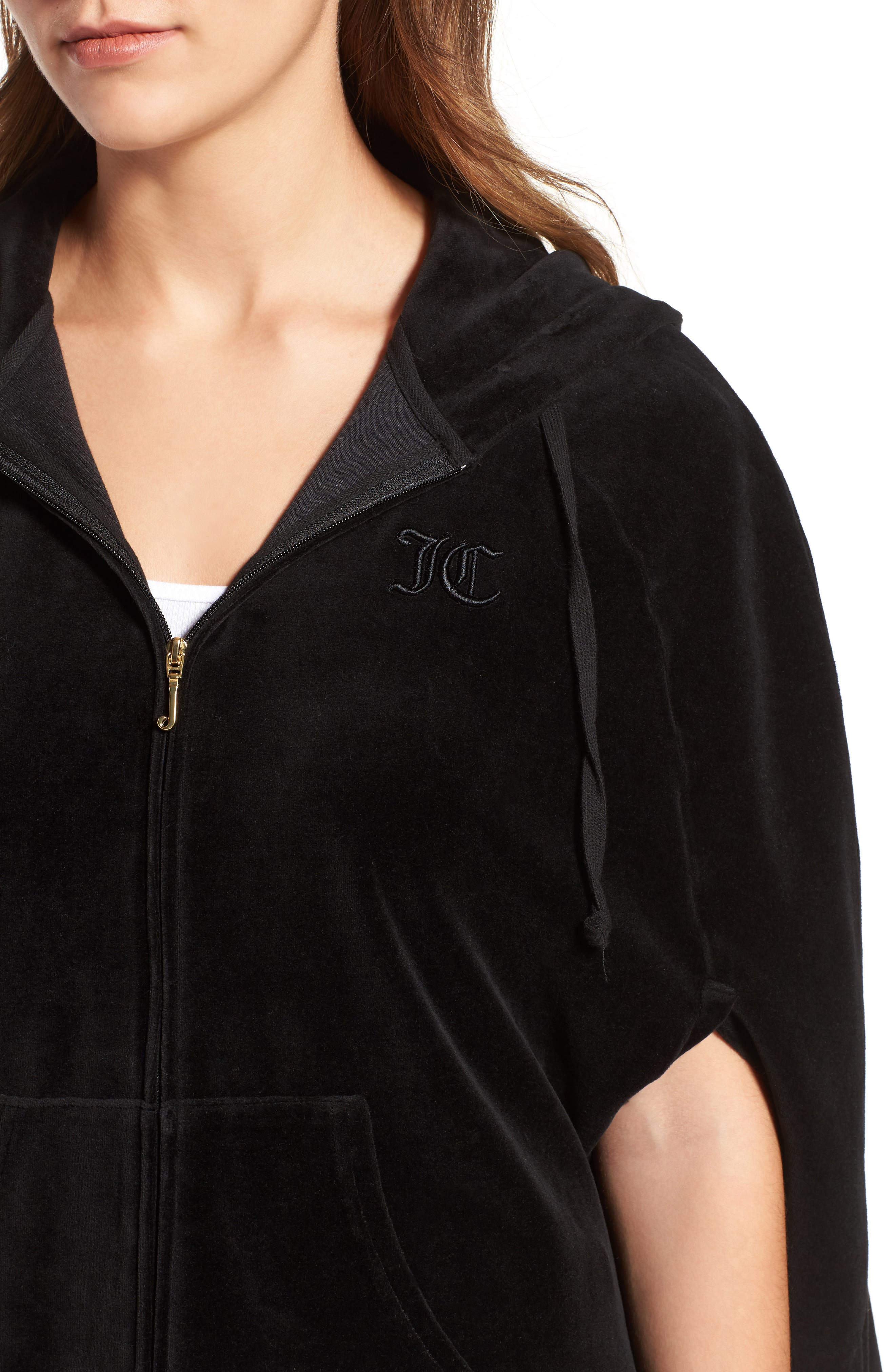 Velour Cape Hoodie,                             Alternate thumbnail 4, color,                             009