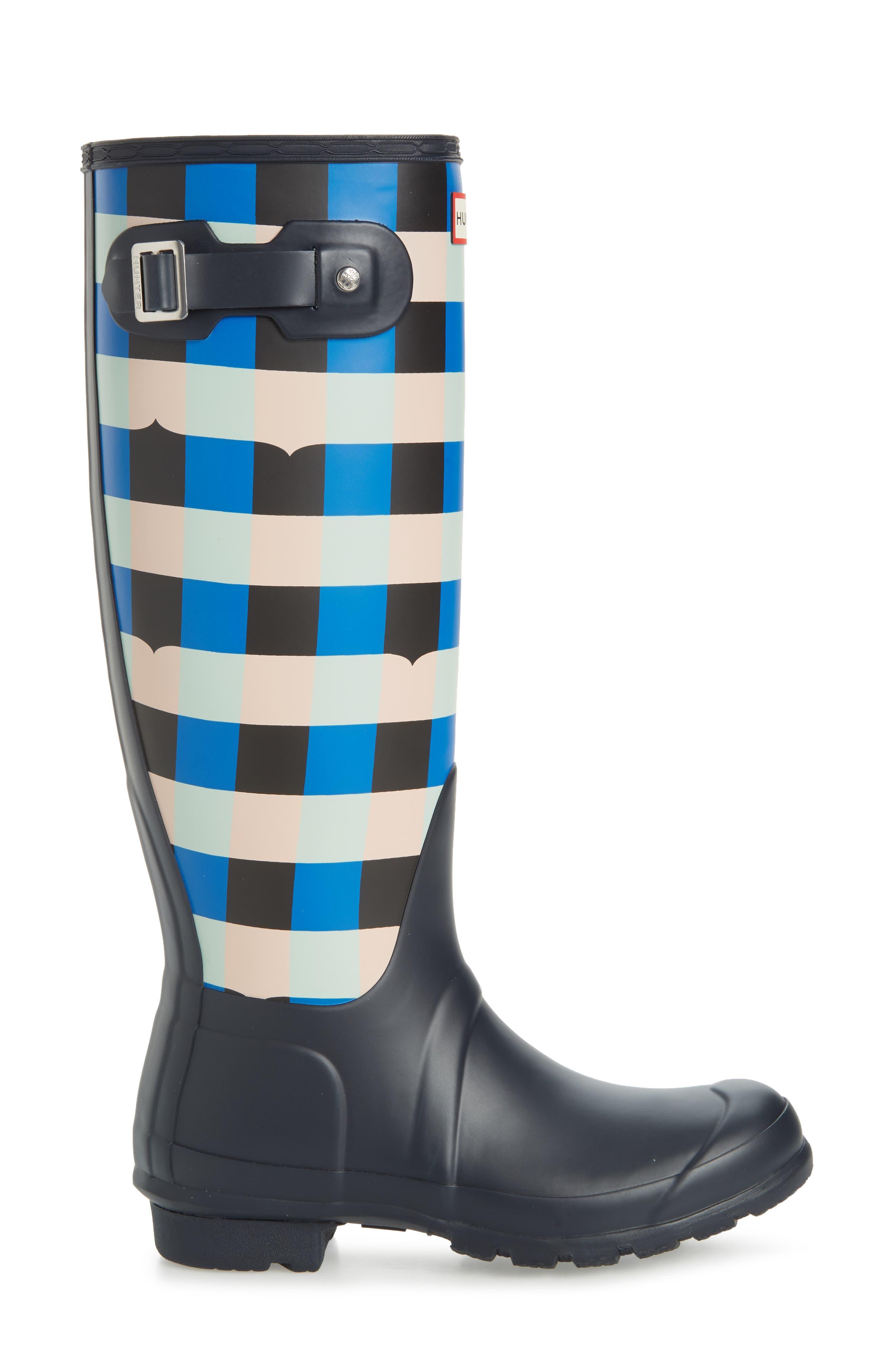 HUNTER,                             Original Tall Gingham Waterproof Rain Boot,                             Alternate thumbnail 3, color,                             410