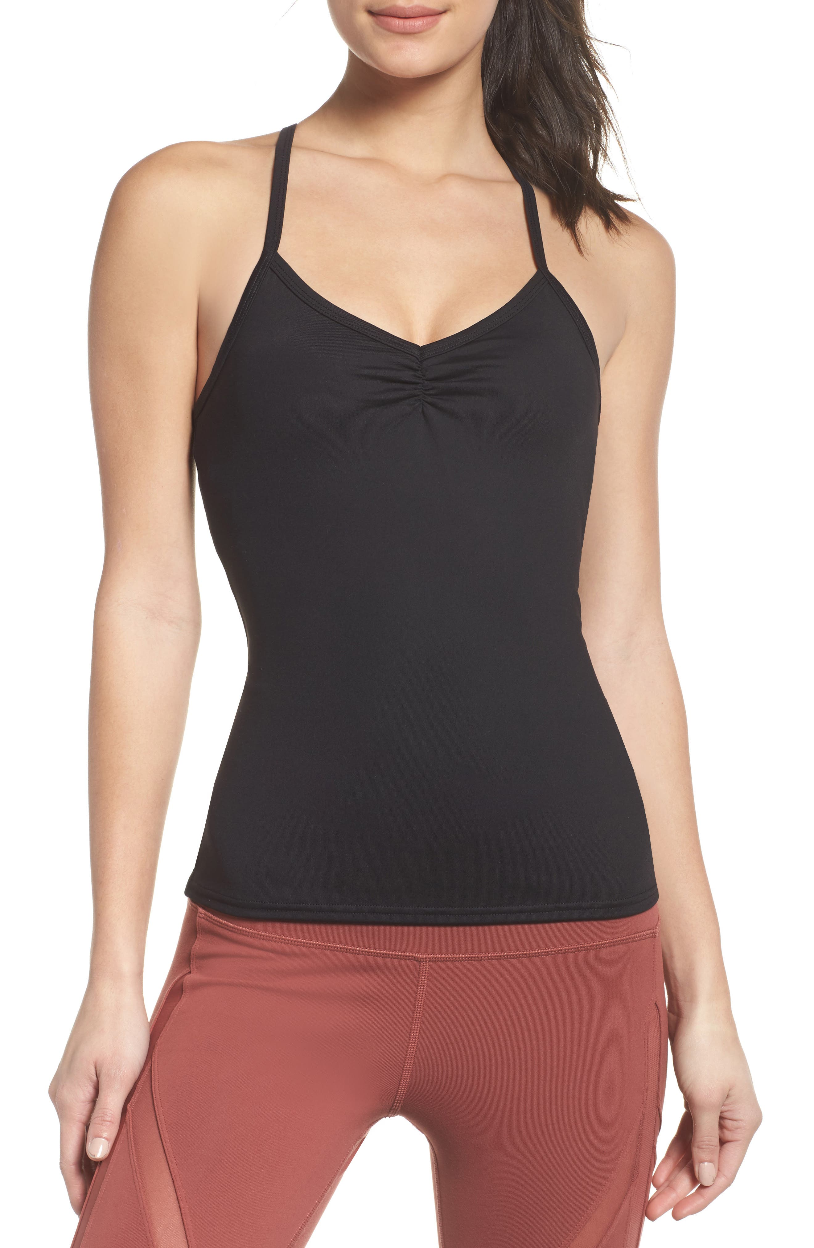 Sunny Strappy Built-In Bra Tank,                             Main thumbnail 1, color,                             001