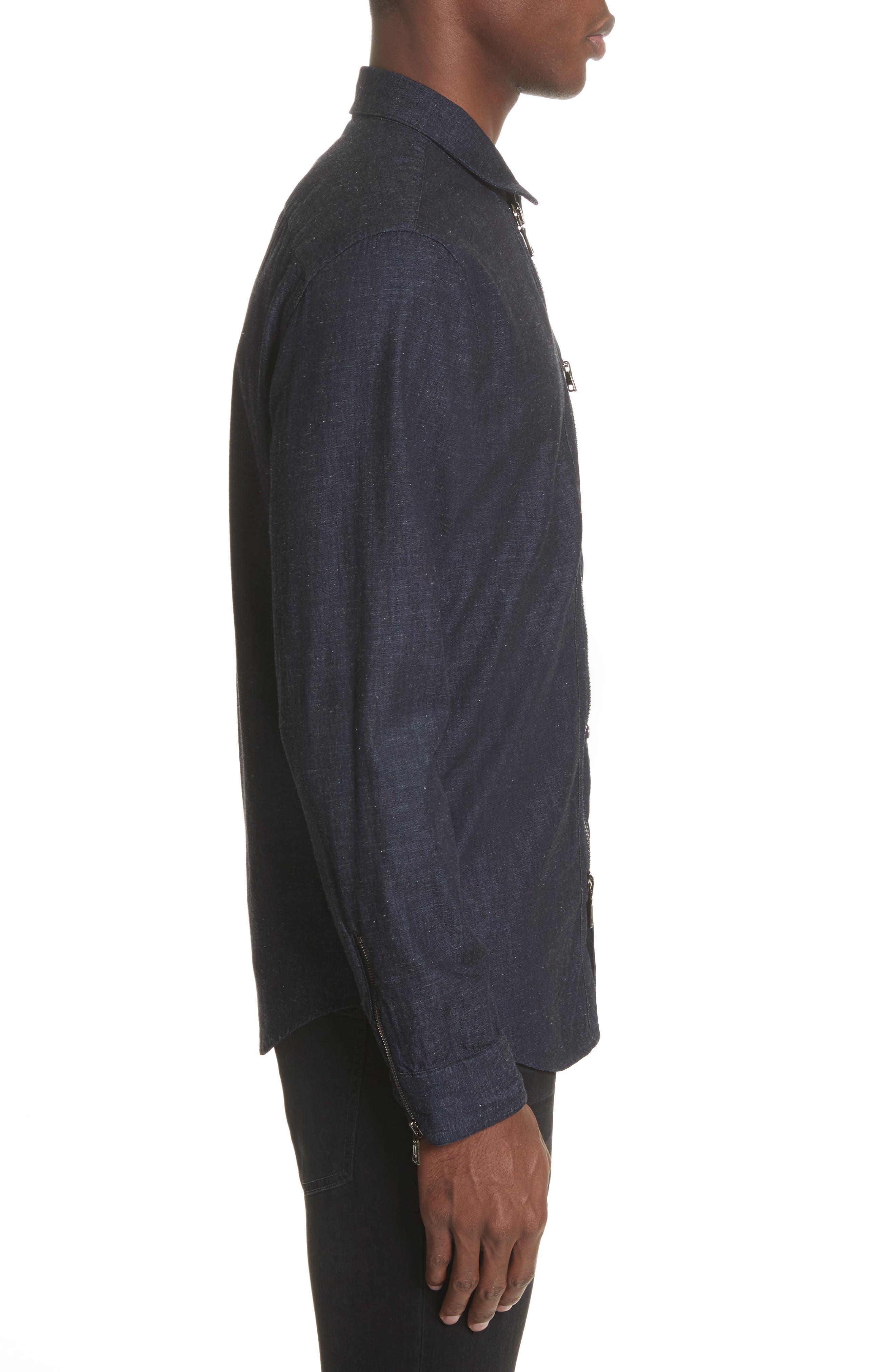 Cotton Blend Zip Shirt,                             Alternate thumbnail 3, color,                             410