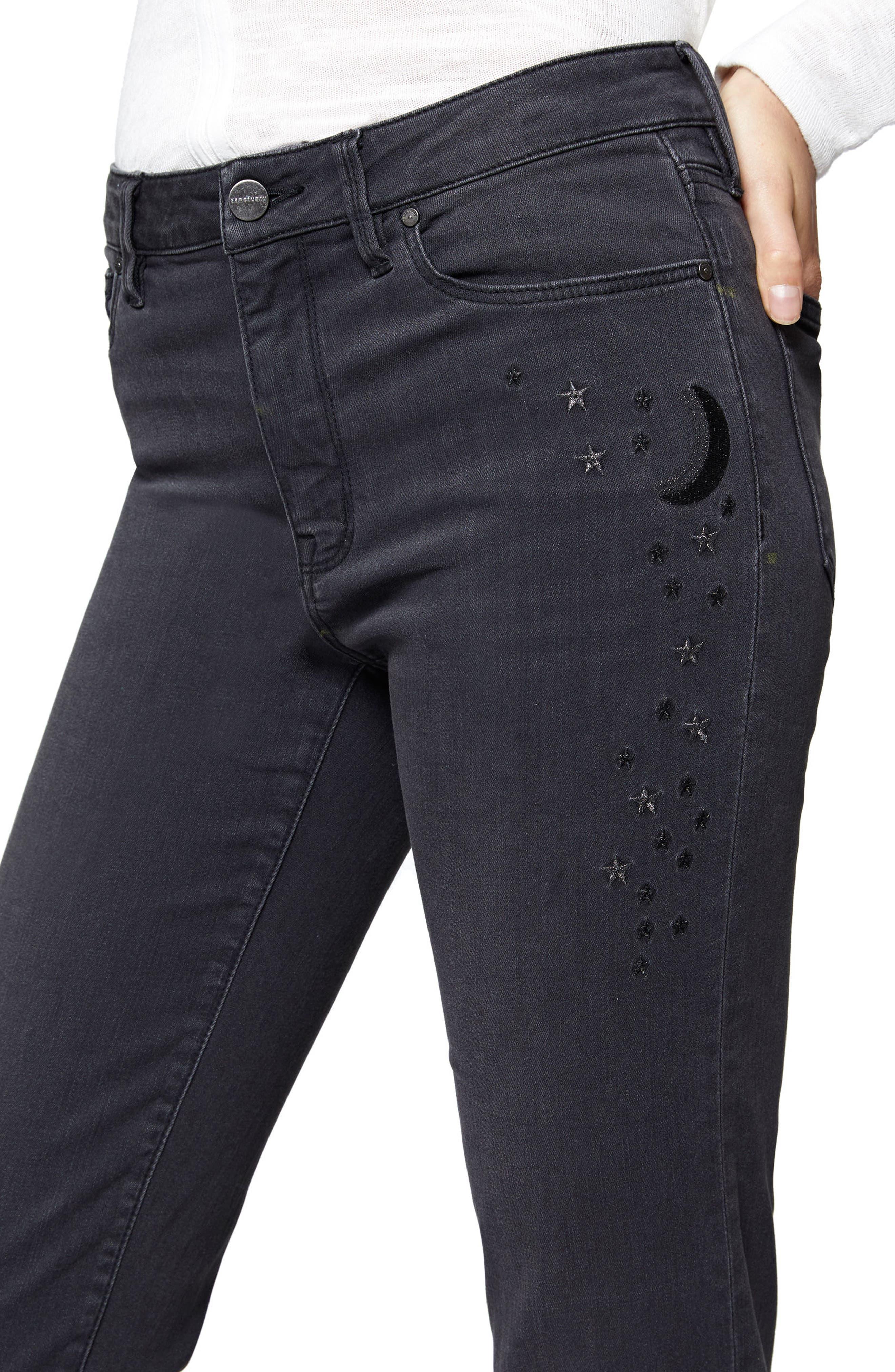 Robbie Raw Hem Skinny Crop Jeans,                             Alternate thumbnail 4, color,                             003
