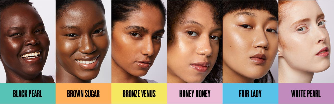 Women ranging in skin tone from dark brown to brown, rich tan, olive, fair and very fair skin wearing UOMA foundation.