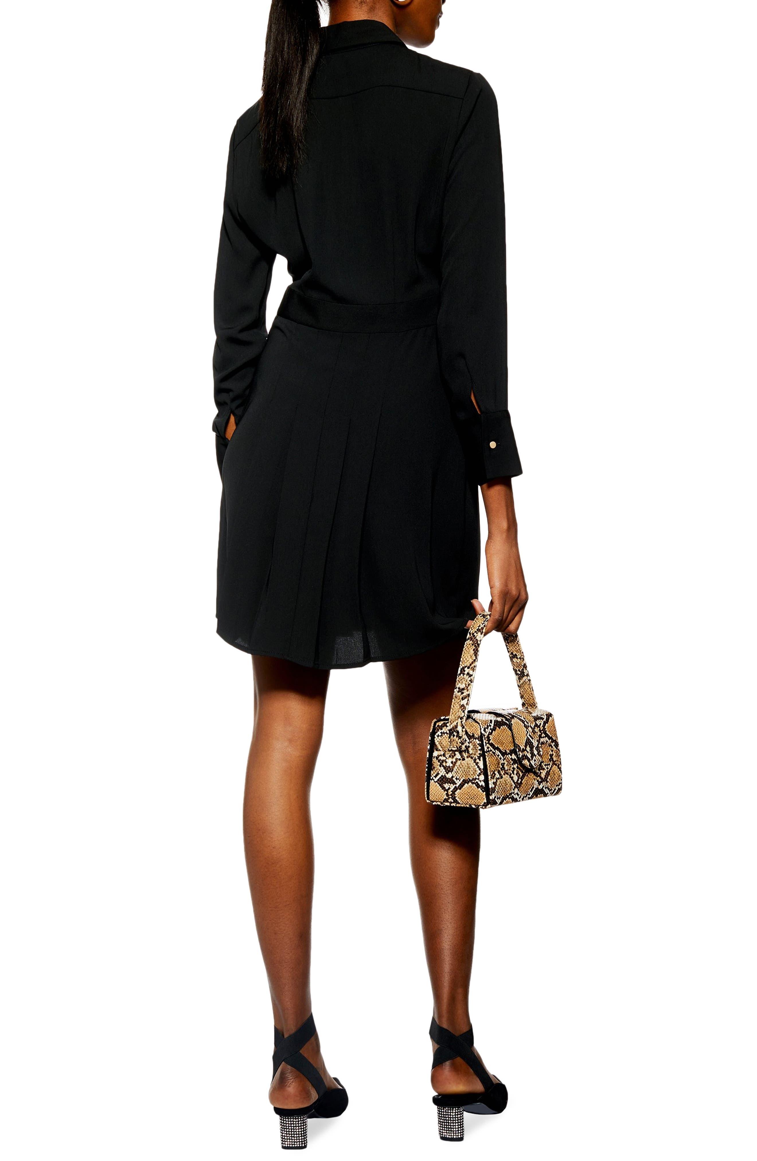 TOPSHOP,                             Pleated Mini Shirtdress,                             Alternate thumbnail 2, color,                             BLACK