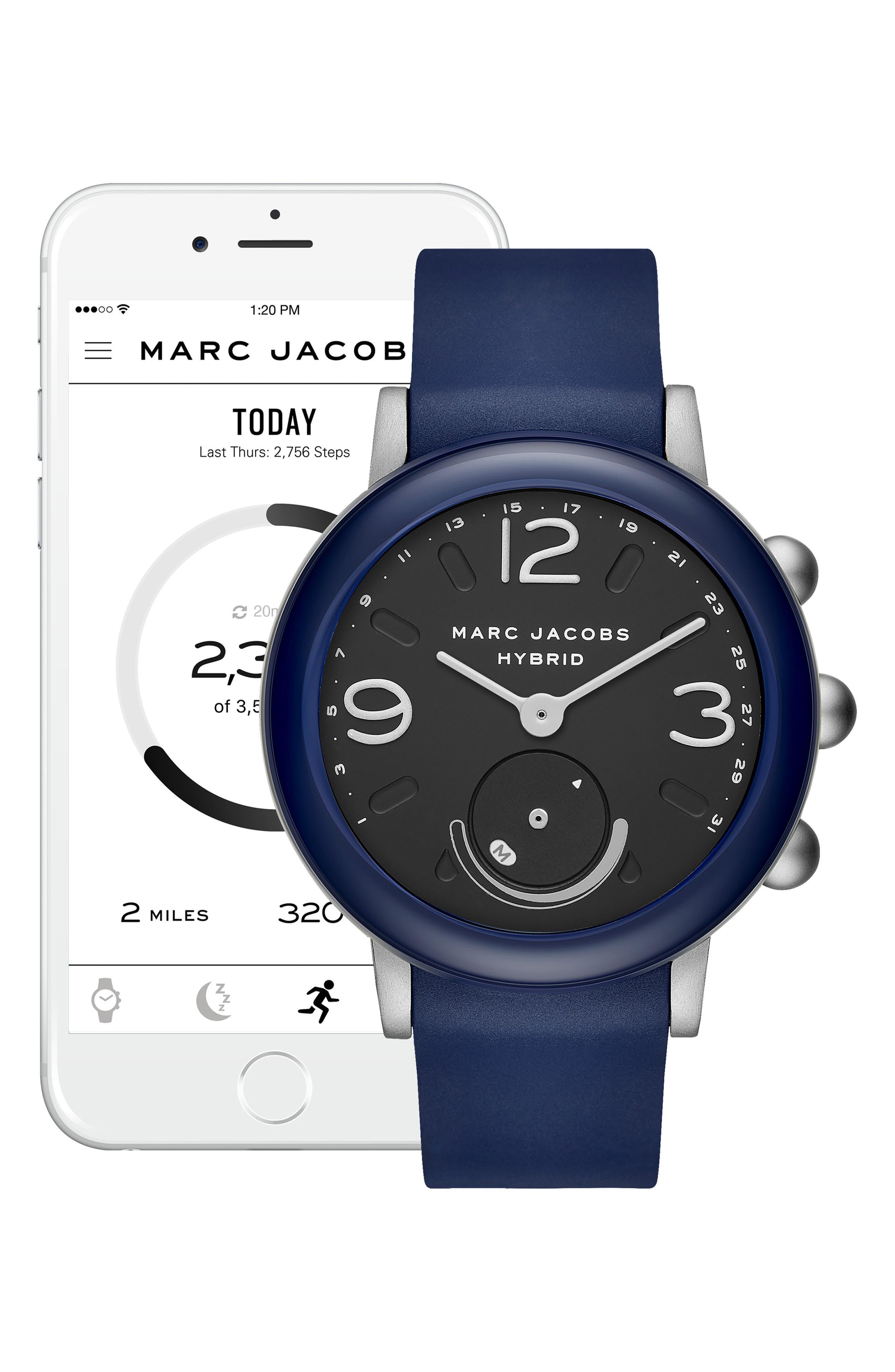 Riley Hybrid Rubber Strap Smart Watch, 44mm,                             Alternate thumbnail 4, color,                             NAVY/ BLACK/ NAVY