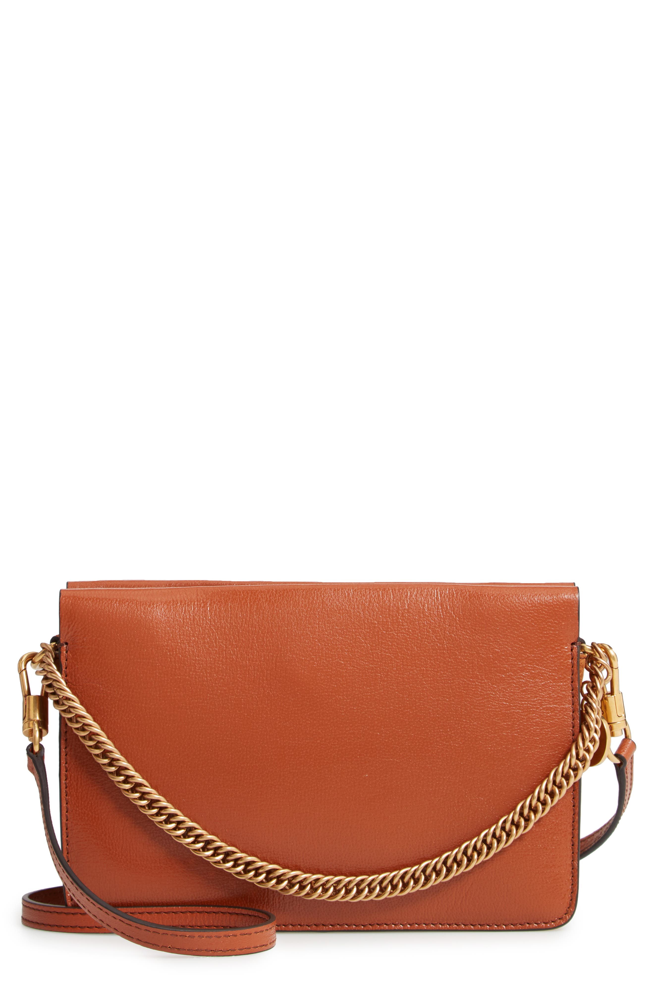 GIVENCHY,                             Cross 3 Leather Crossbody Bag,                             Main thumbnail 1, color,                             CHESTNUT