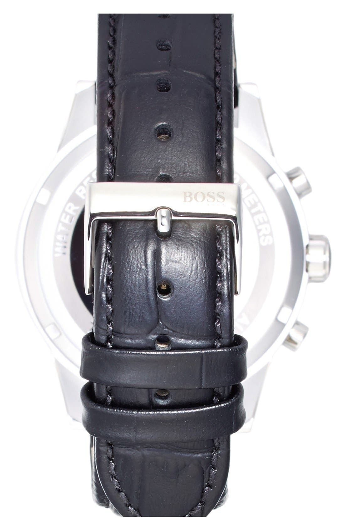 BOSS 'Jet Sport' Chronograph Leather Strap Watch, 41mm,                             Alternate thumbnail 3, color,                             400