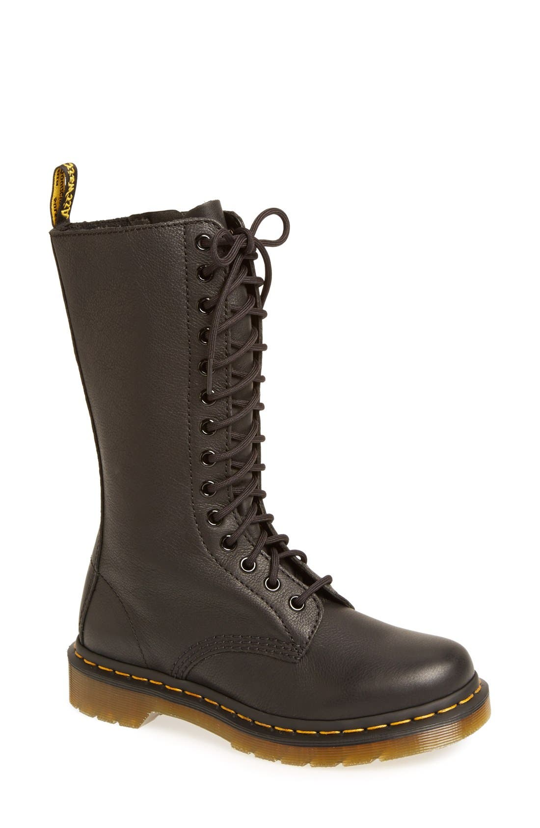'1B99' Leather Boot,                             Main thumbnail 1, color,                             BLACK VIRGINIA