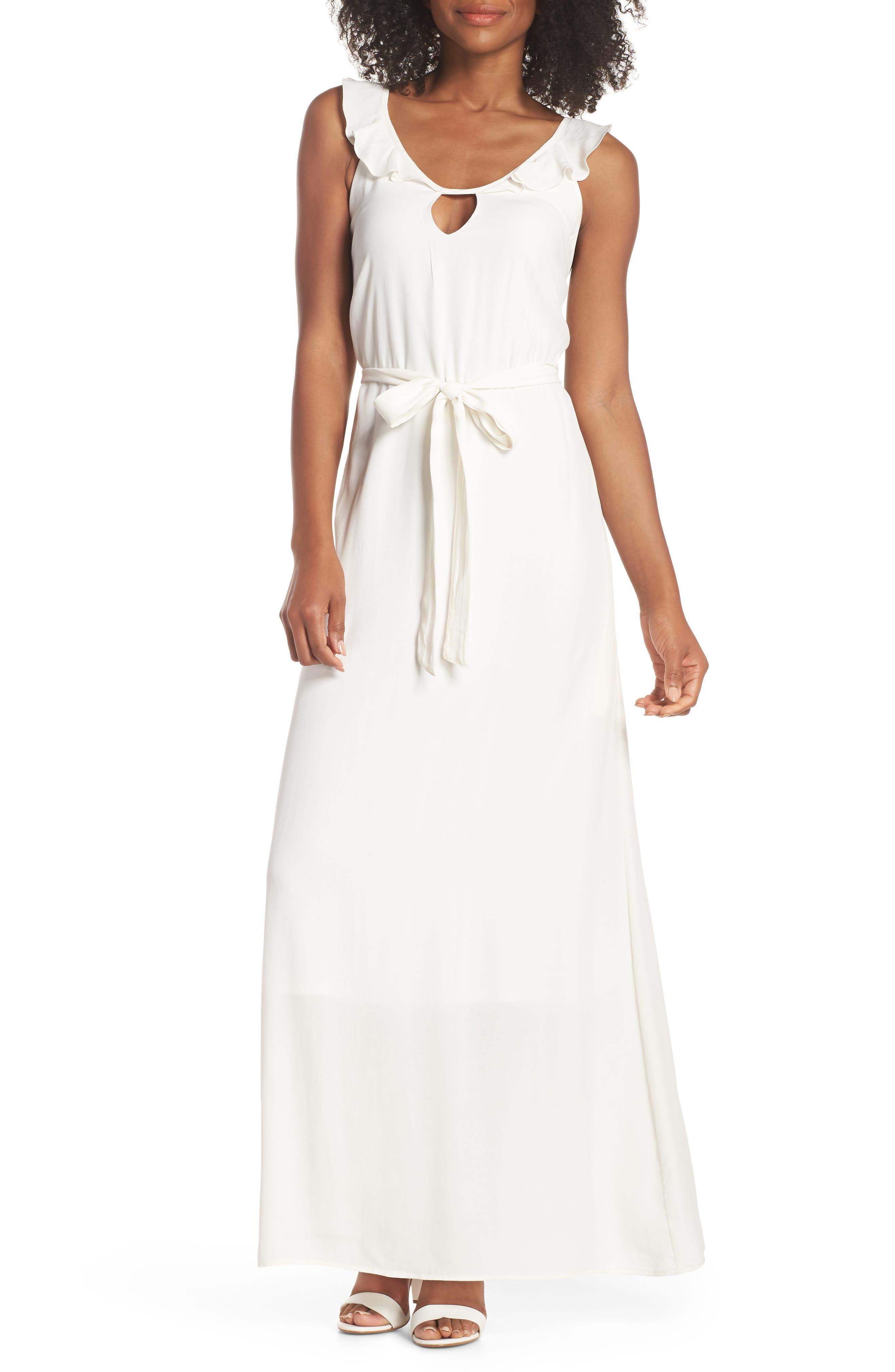 Ruffle Neck Maxi Dress,                         Main,                         color, IVORY