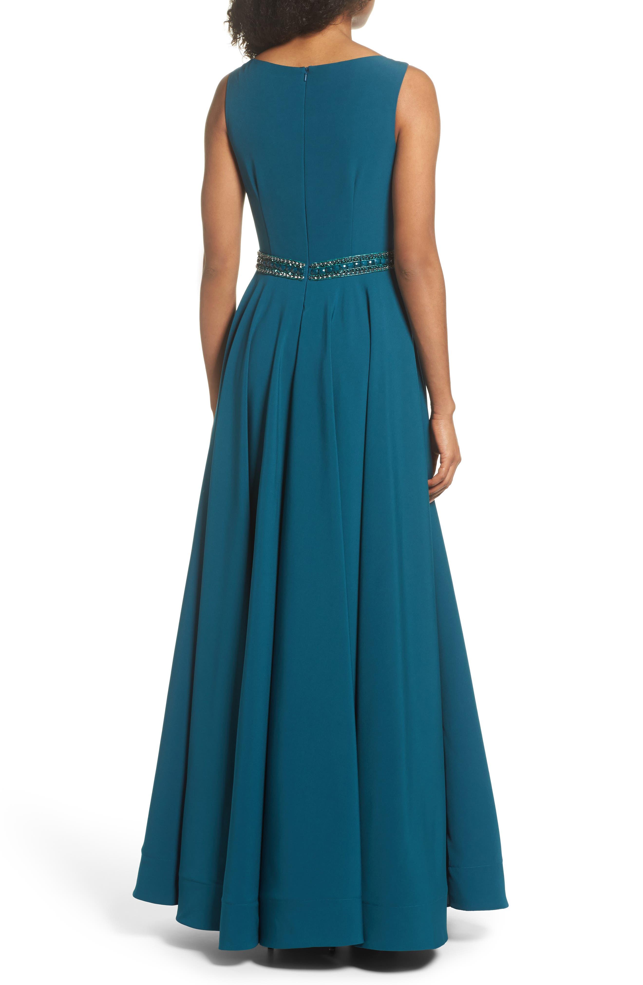 Beaded Waist Gown,                             Alternate thumbnail 2, color,                             TEAL