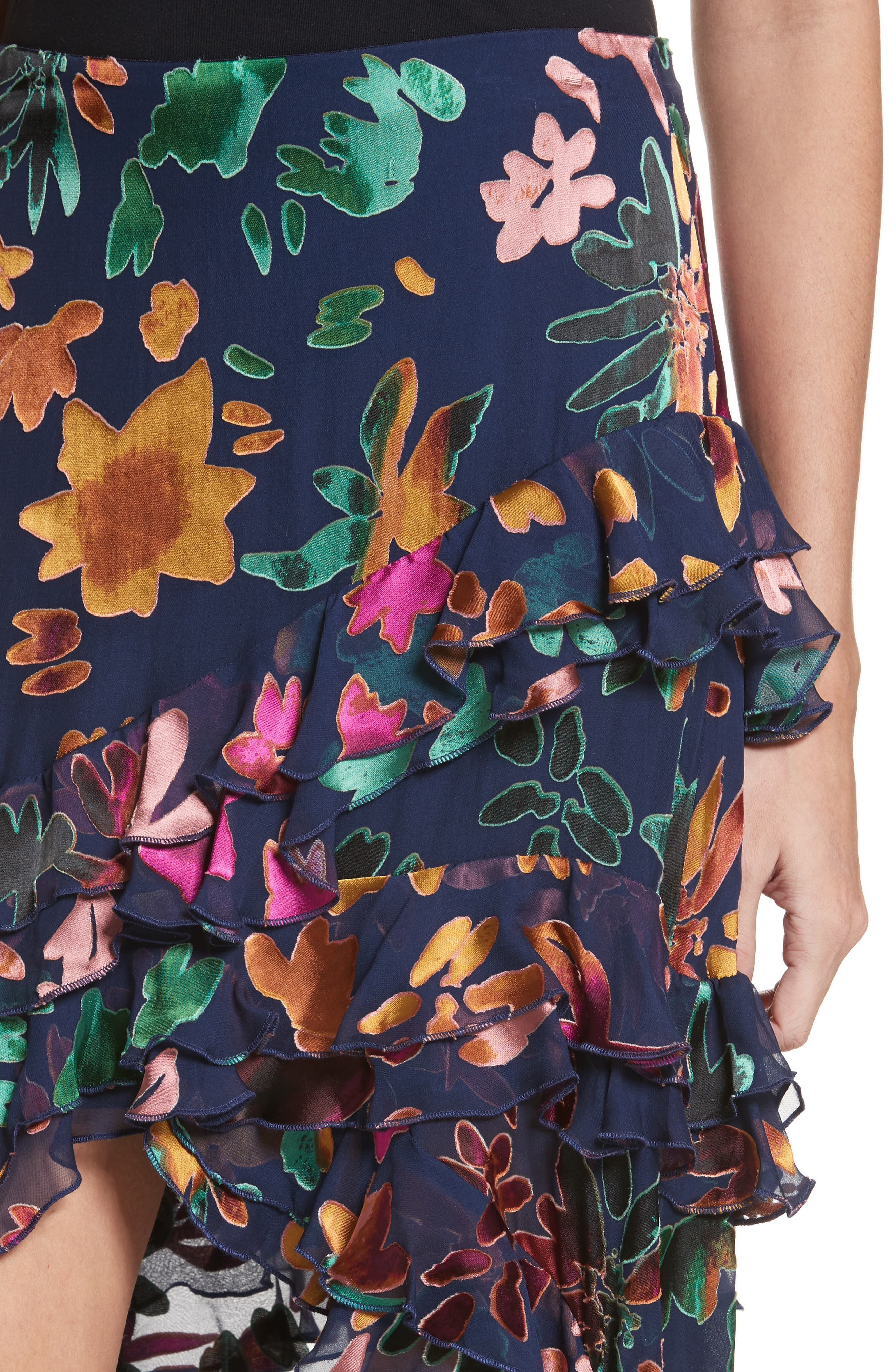 Sasha Asymmetrical Tiered Ruffle Skirt,                             Alternate thumbnail 4, color,                             471