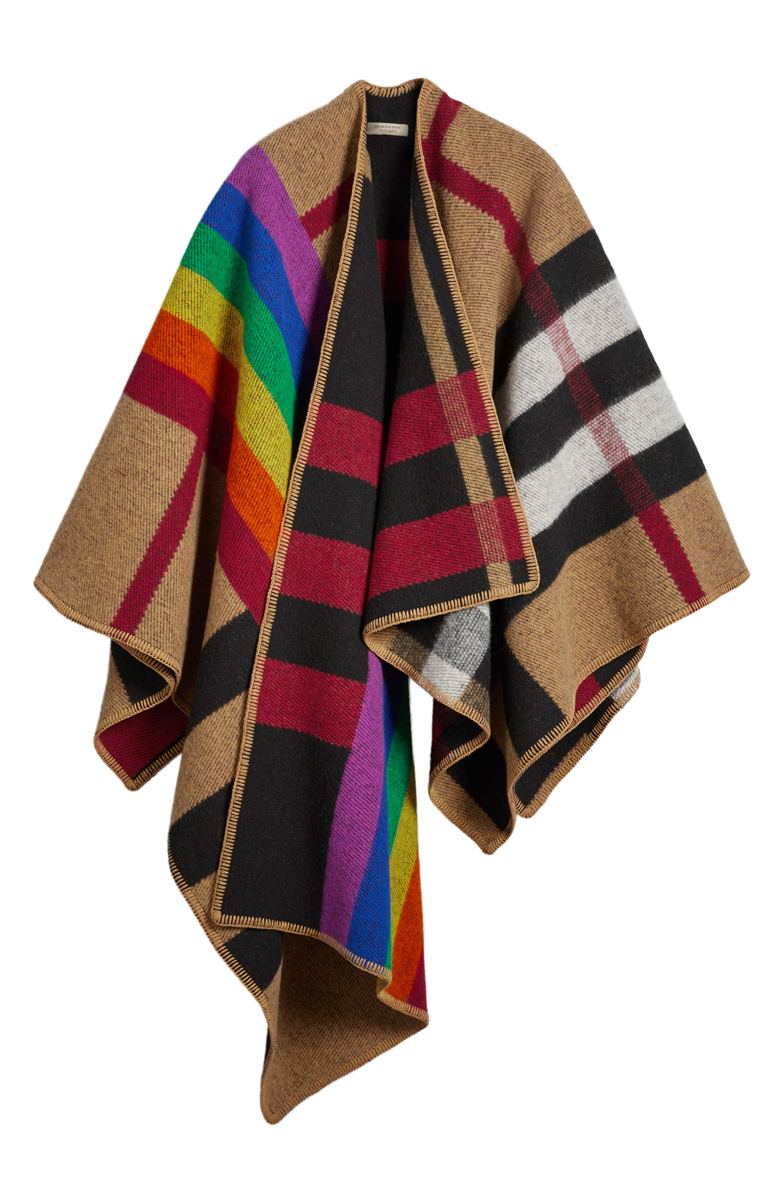 Rainbow Stripe Vintage Check Wool & Cashmere Cape,                             Alternate thumbnail 3, color,                             200
