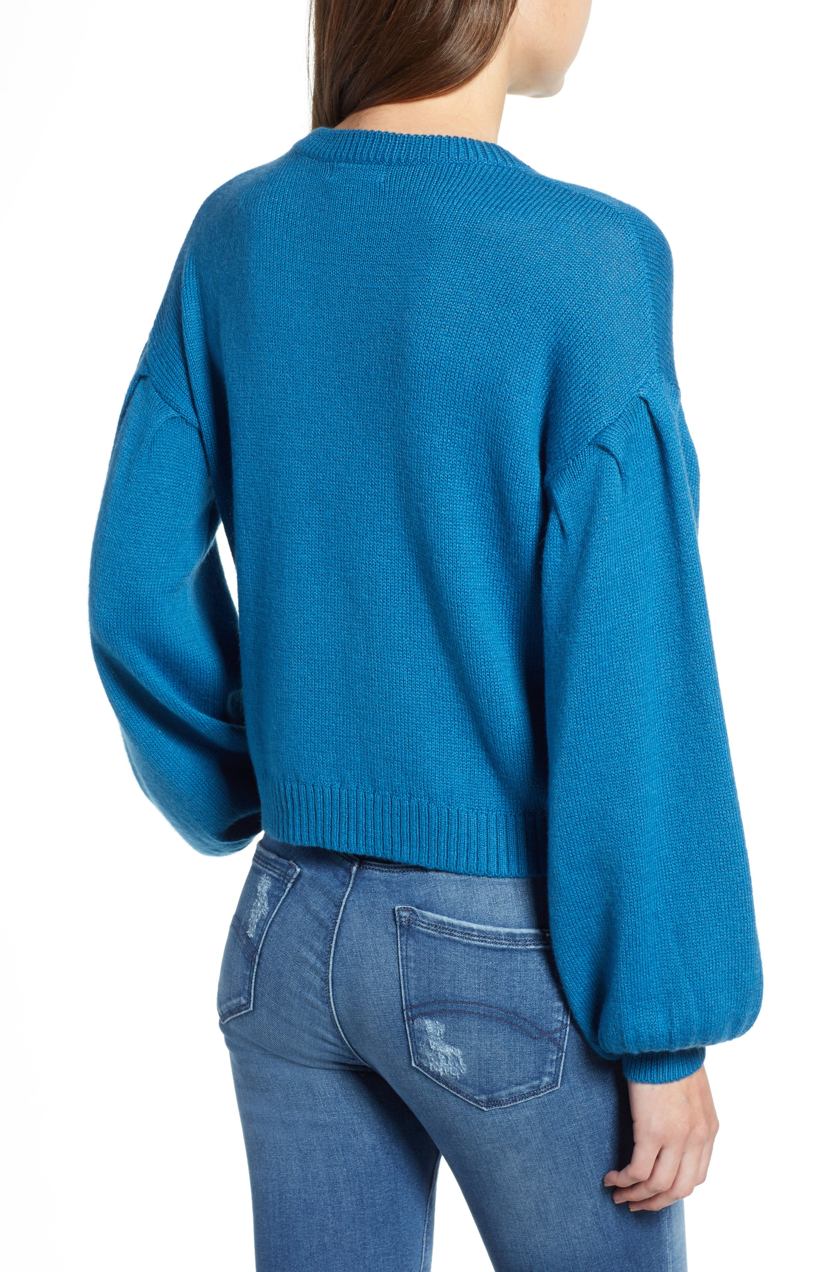 Blouson Sleeve Sweater,                             Alternate thumbnail 2, color,                             TEAL SAPPHIRE