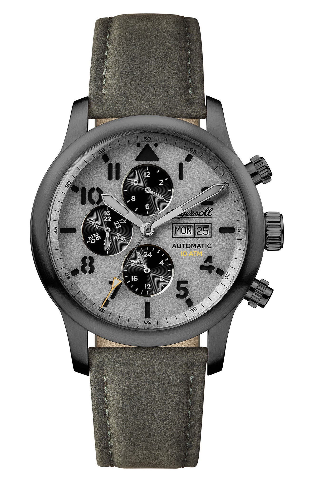 Ingersoll Hatton Automatic Multifunction Leather Strap Watch, 47mm,                         Main,                         color, GREY/ GUNMETAL