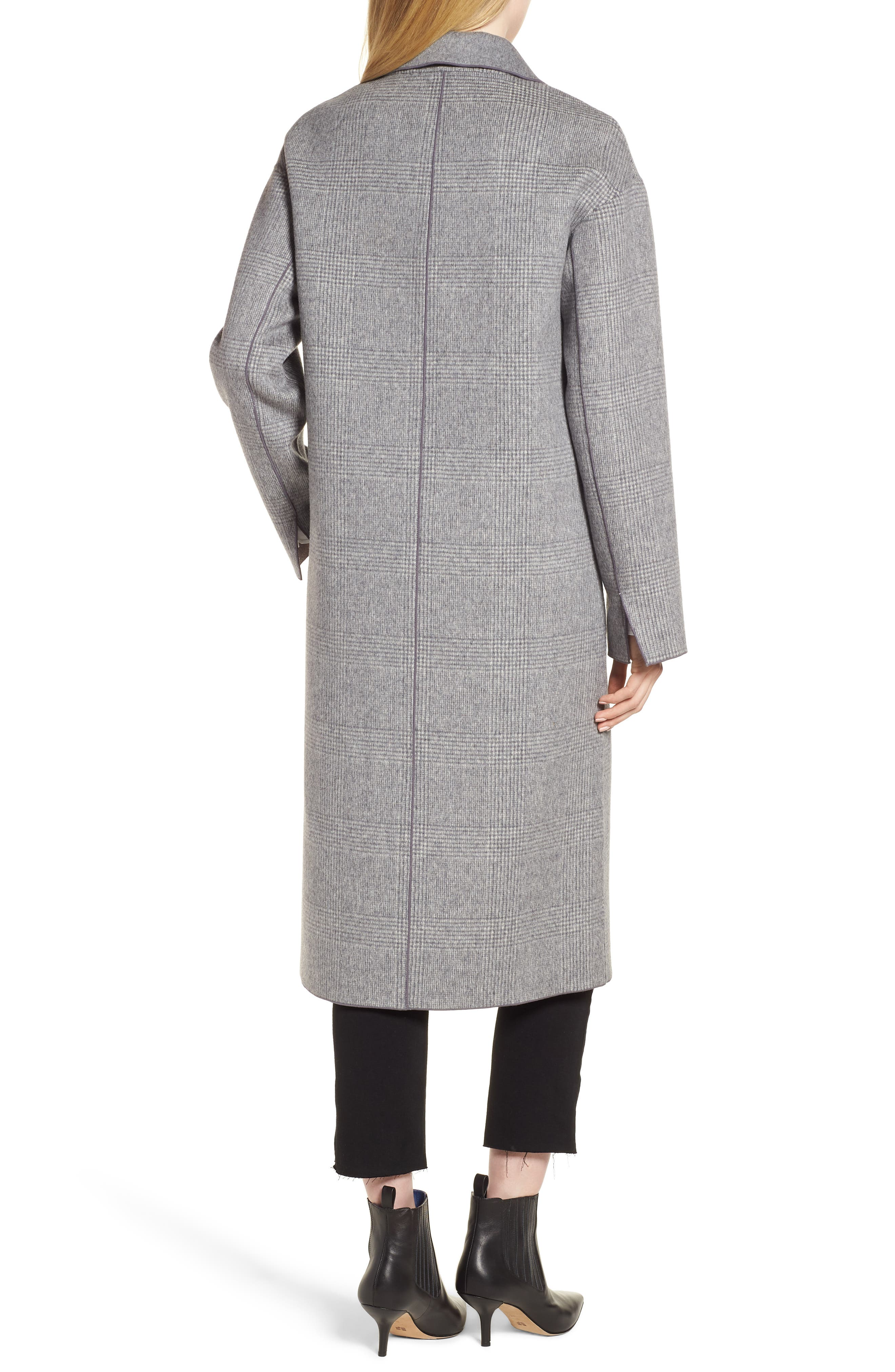 Amy Double Breasted Wool Coat,                             Alternate thumbnail 2, color,                             GREY PLAID
