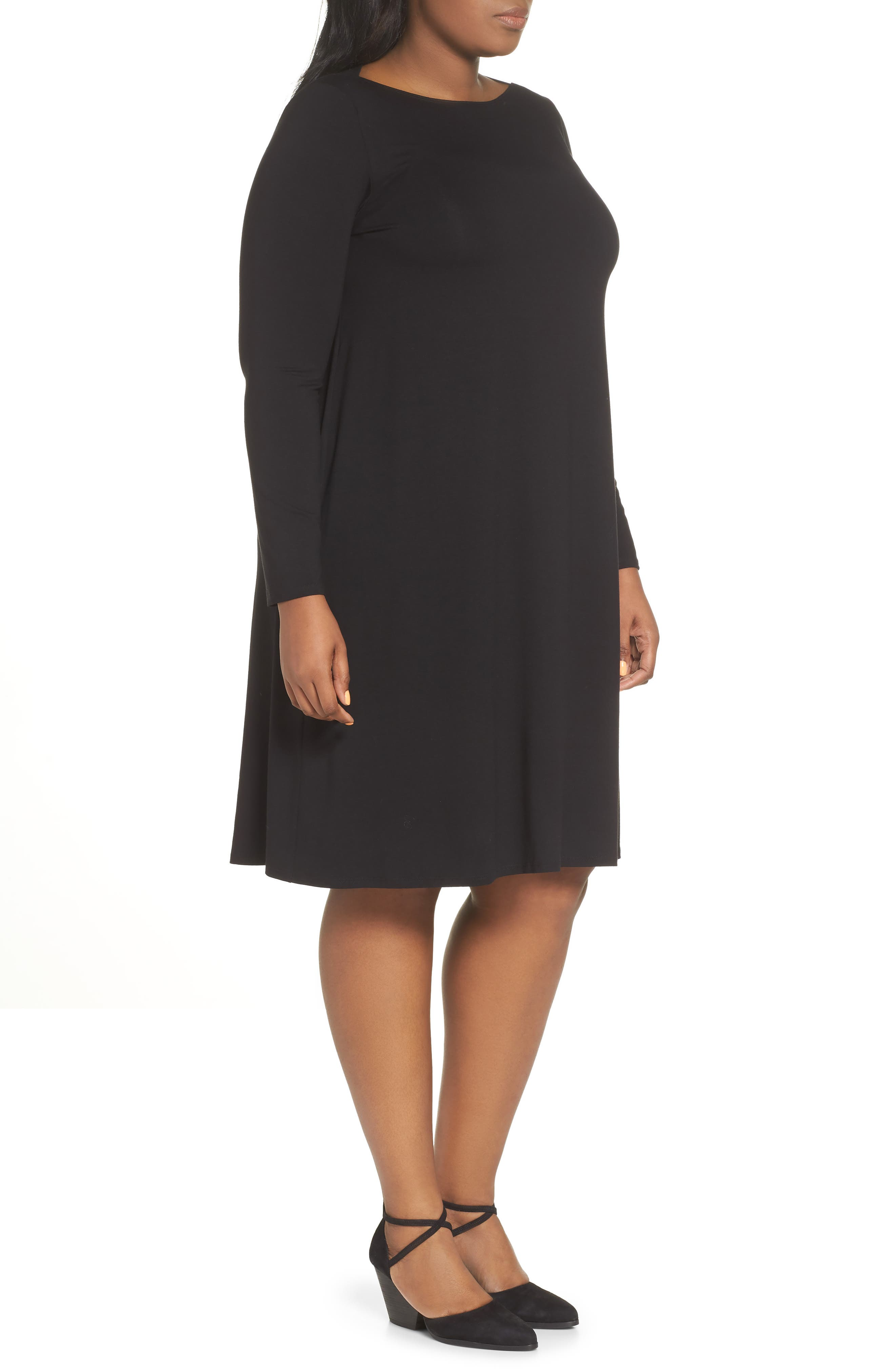 Bateau Neck Jersey Shift Dress,                             Alternate thumbnail 4, color,                             002