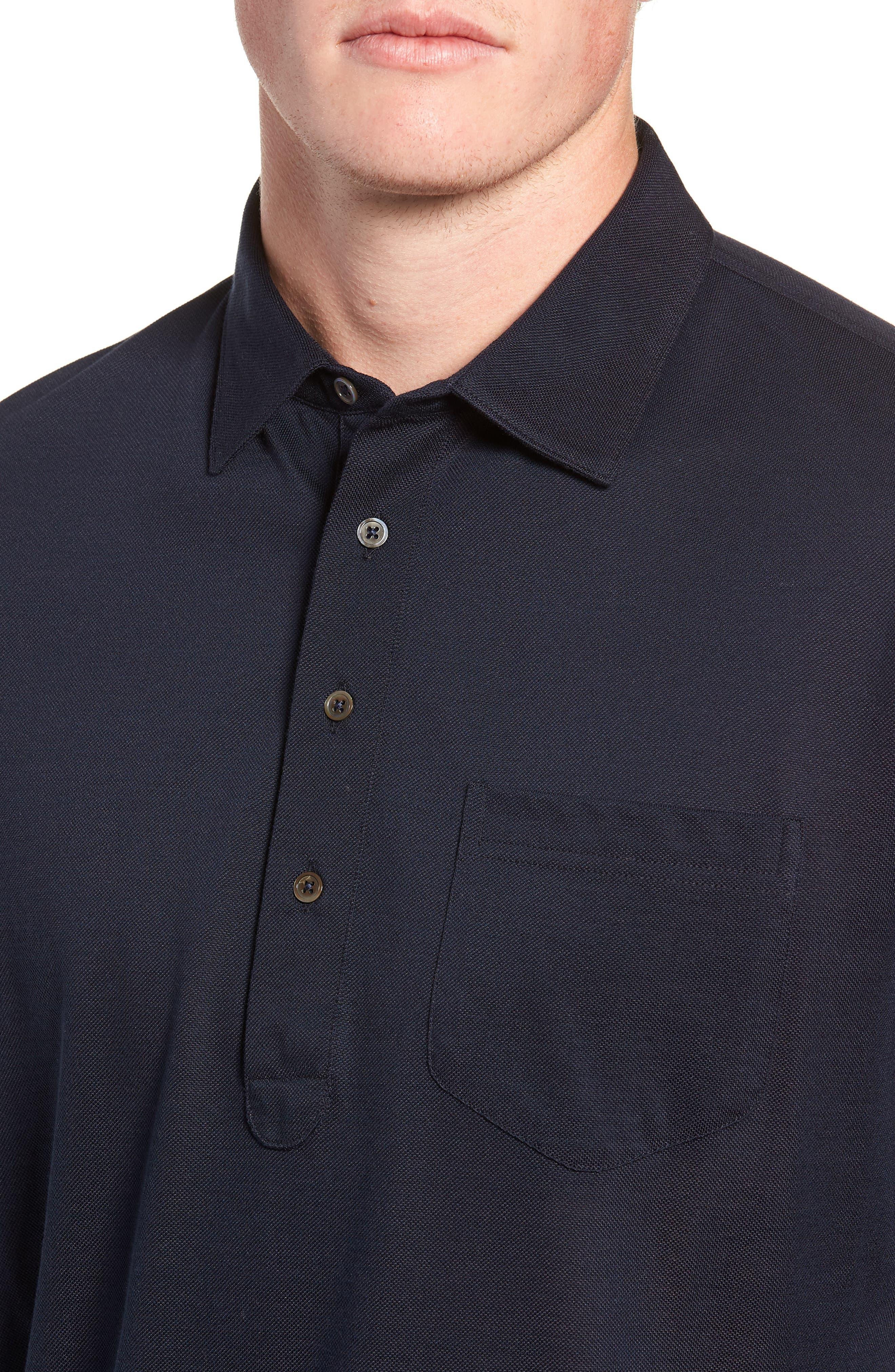Avon Long Sleeve Silk & Cotton Polo,                             Alternate thumbnail 4, color,                             BARCHETTA