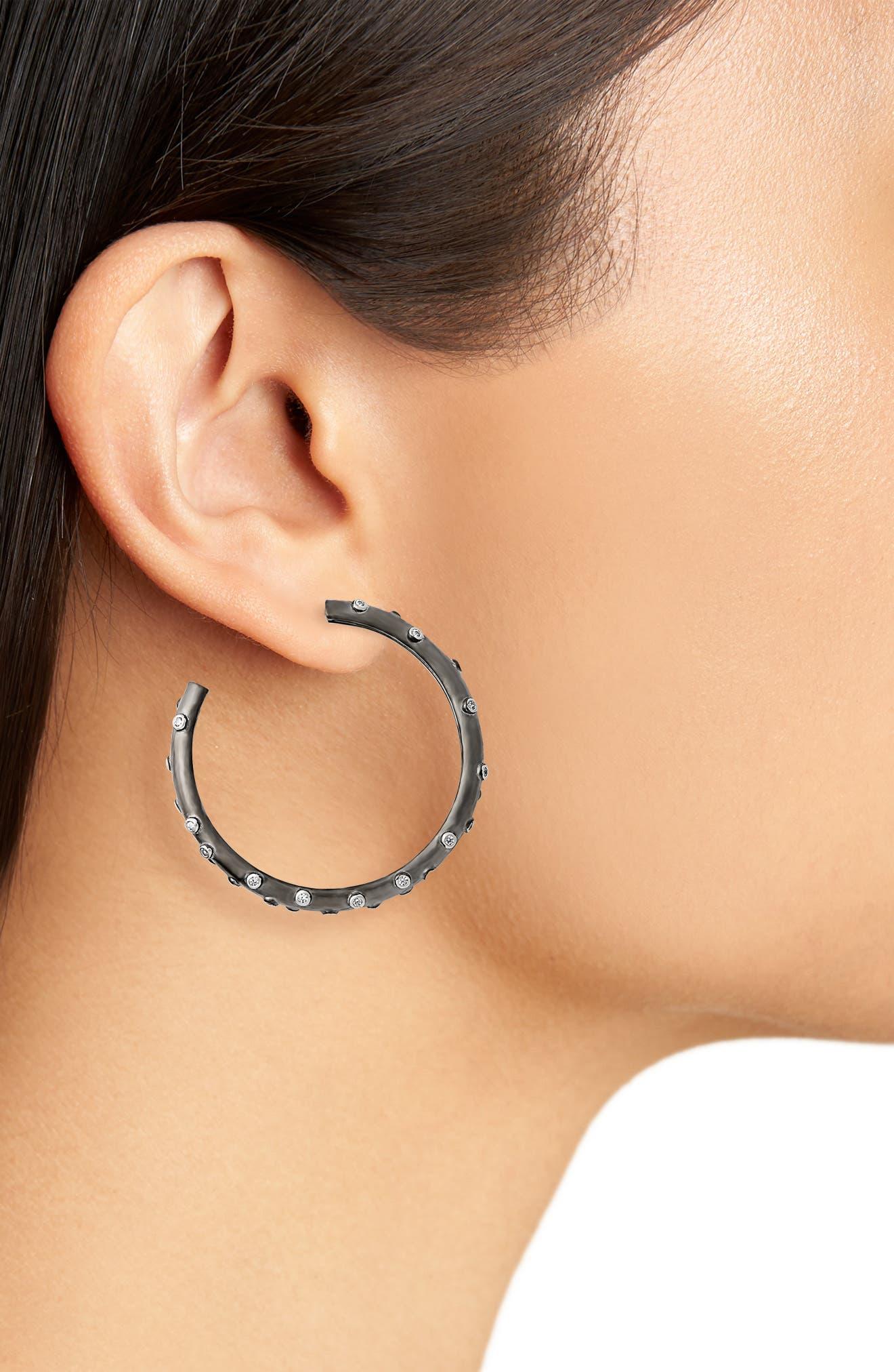 Chunky C-Hoop Earrings,                             Alternate thumbnail 2, color,                             BLACK/ WHITE/ SILVER