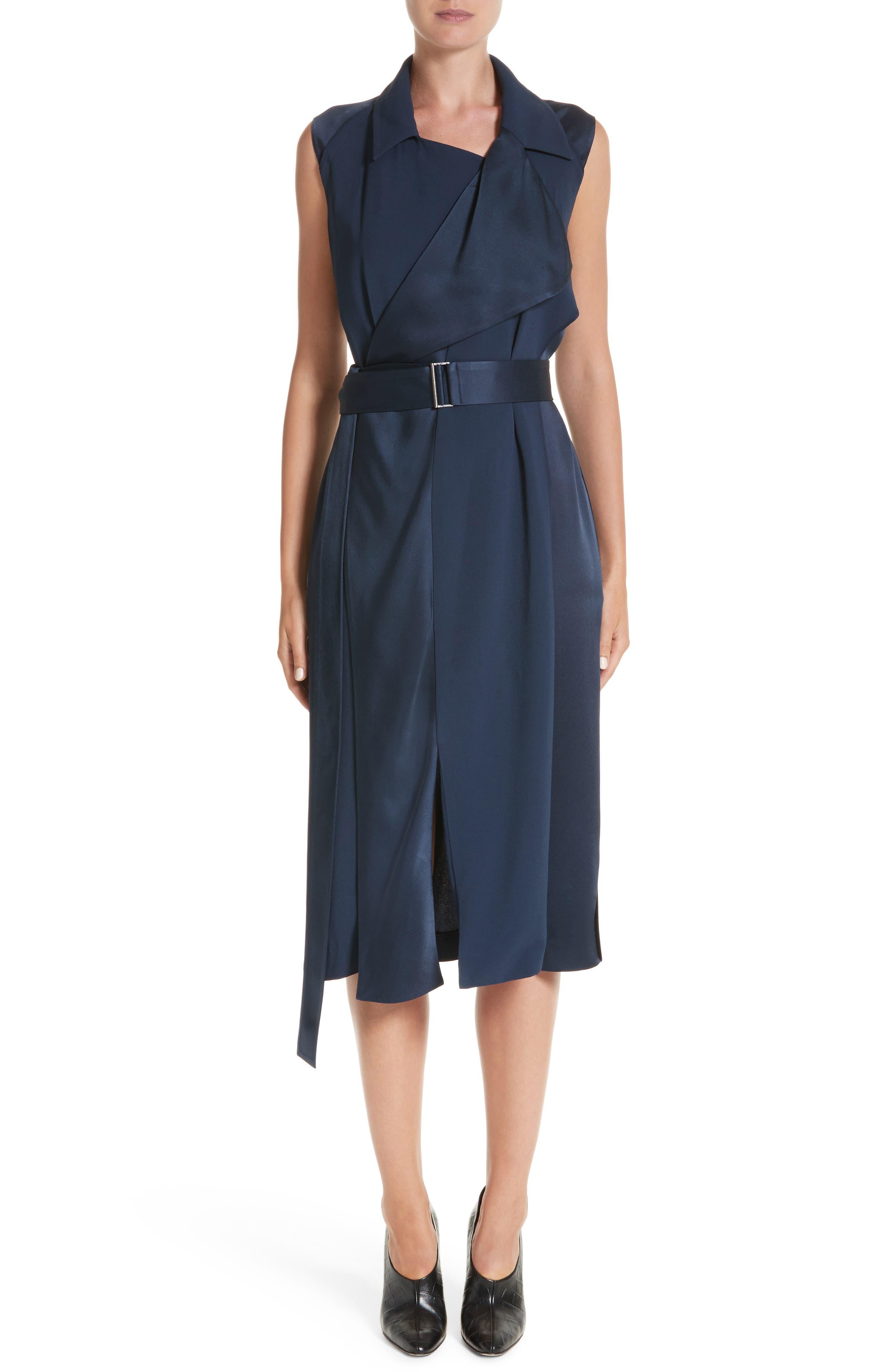 Crepe Back Satin Belted Wrap Dress,                         Main,                         color,