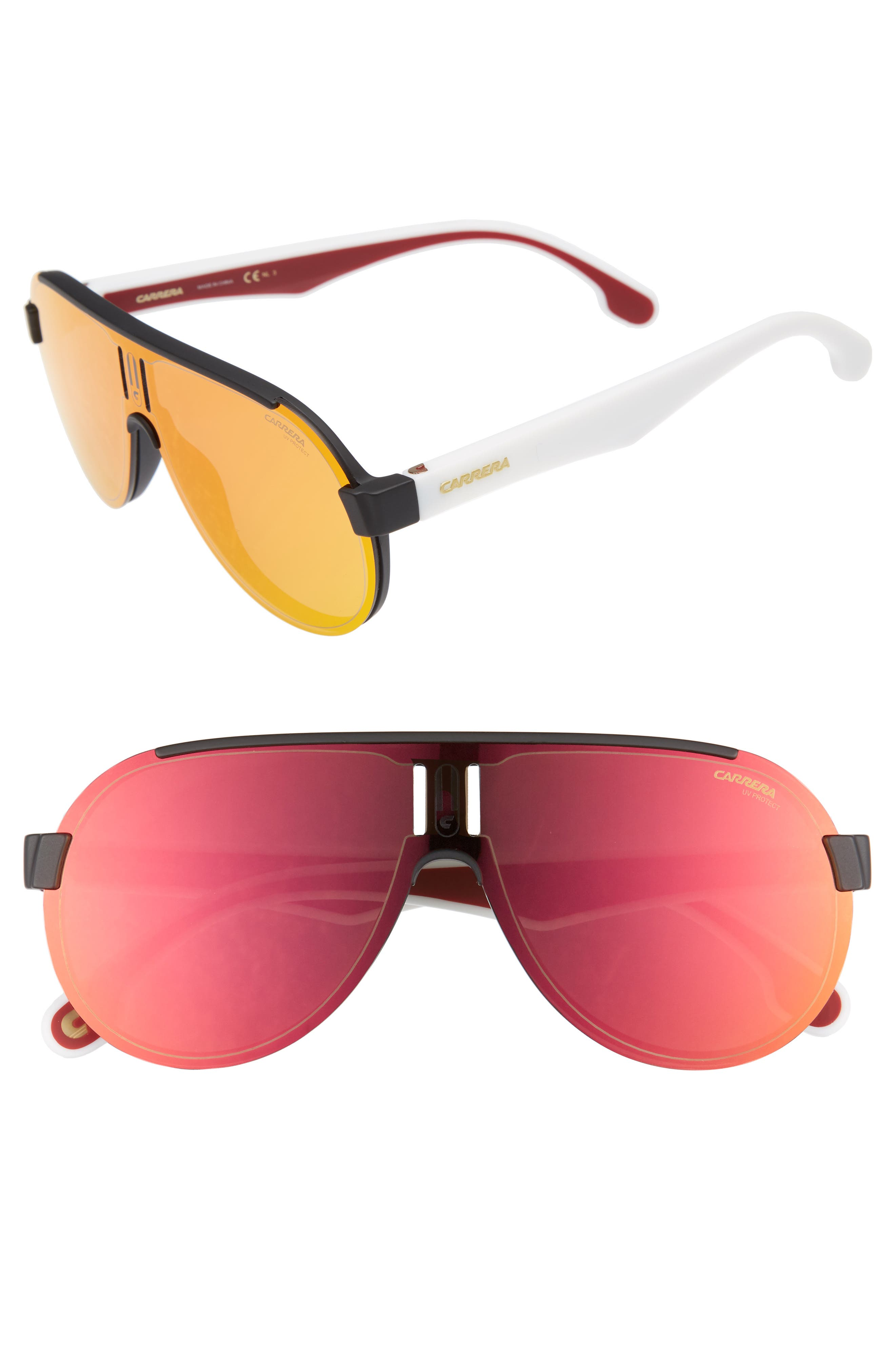 99mm Shield Sunglasses,                             Main thumbnail 1, color,                             MATTE BLACK WHITE/ RED MIRROR