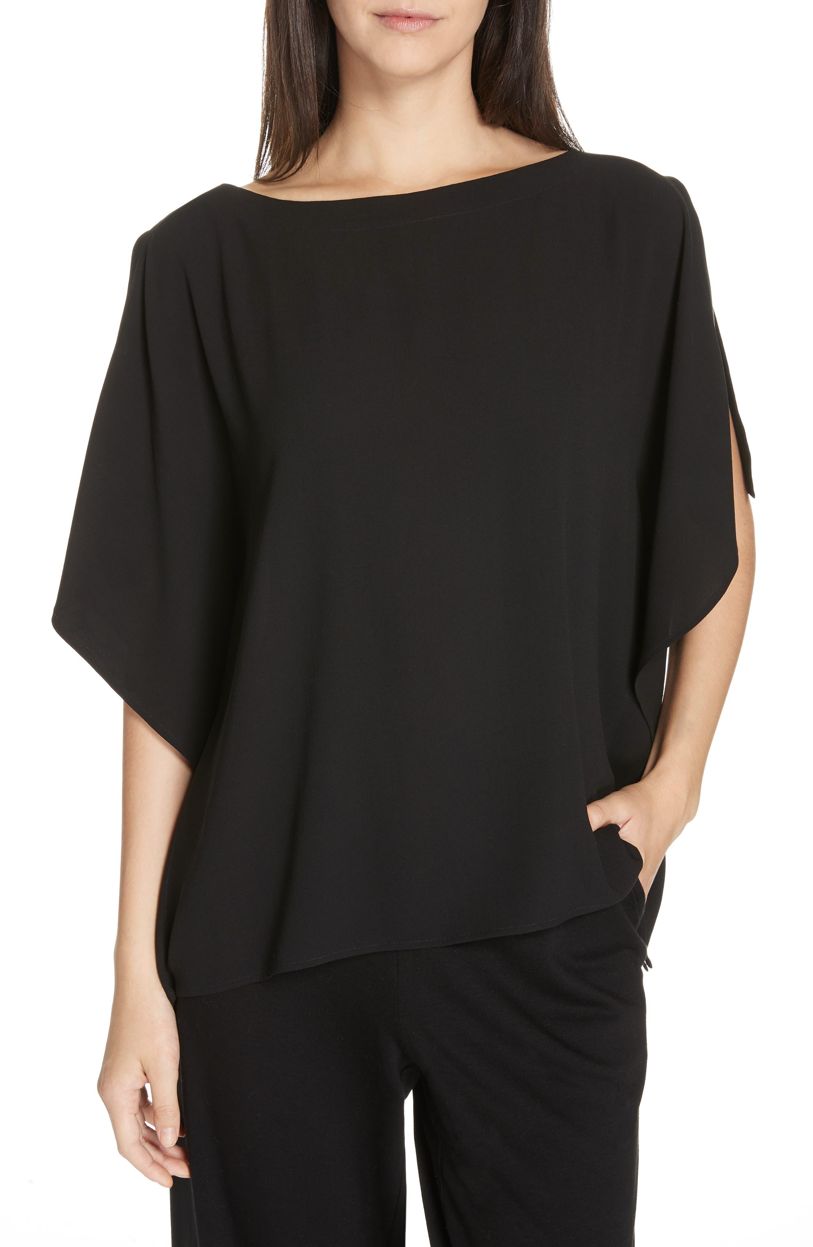 Slit Sleeve Silk Top,                         Main,                         color, BLACK