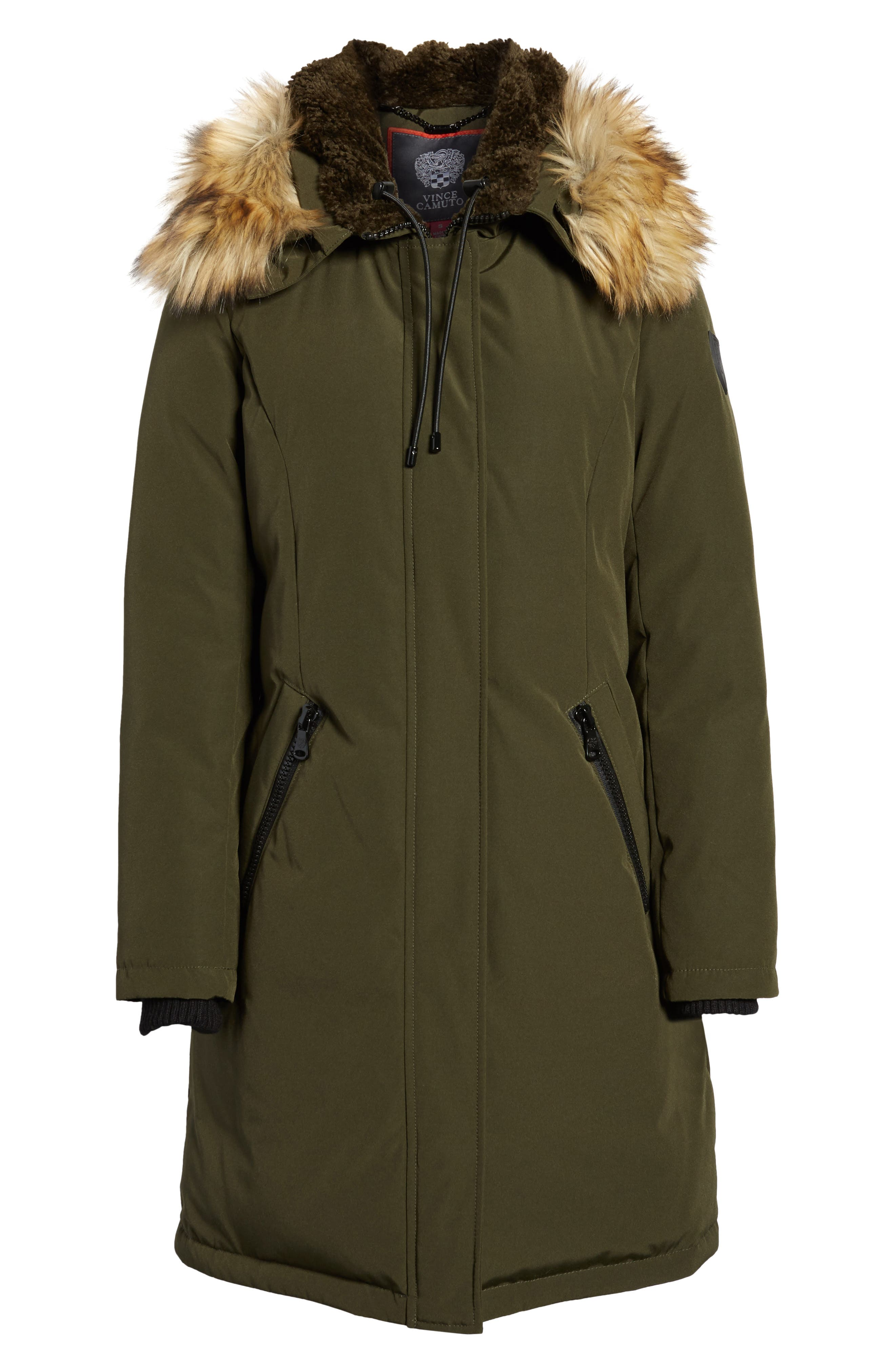Down & Feather Fill Parka with Faux Fur Trim,                             Alternate thumbnail 25, color,