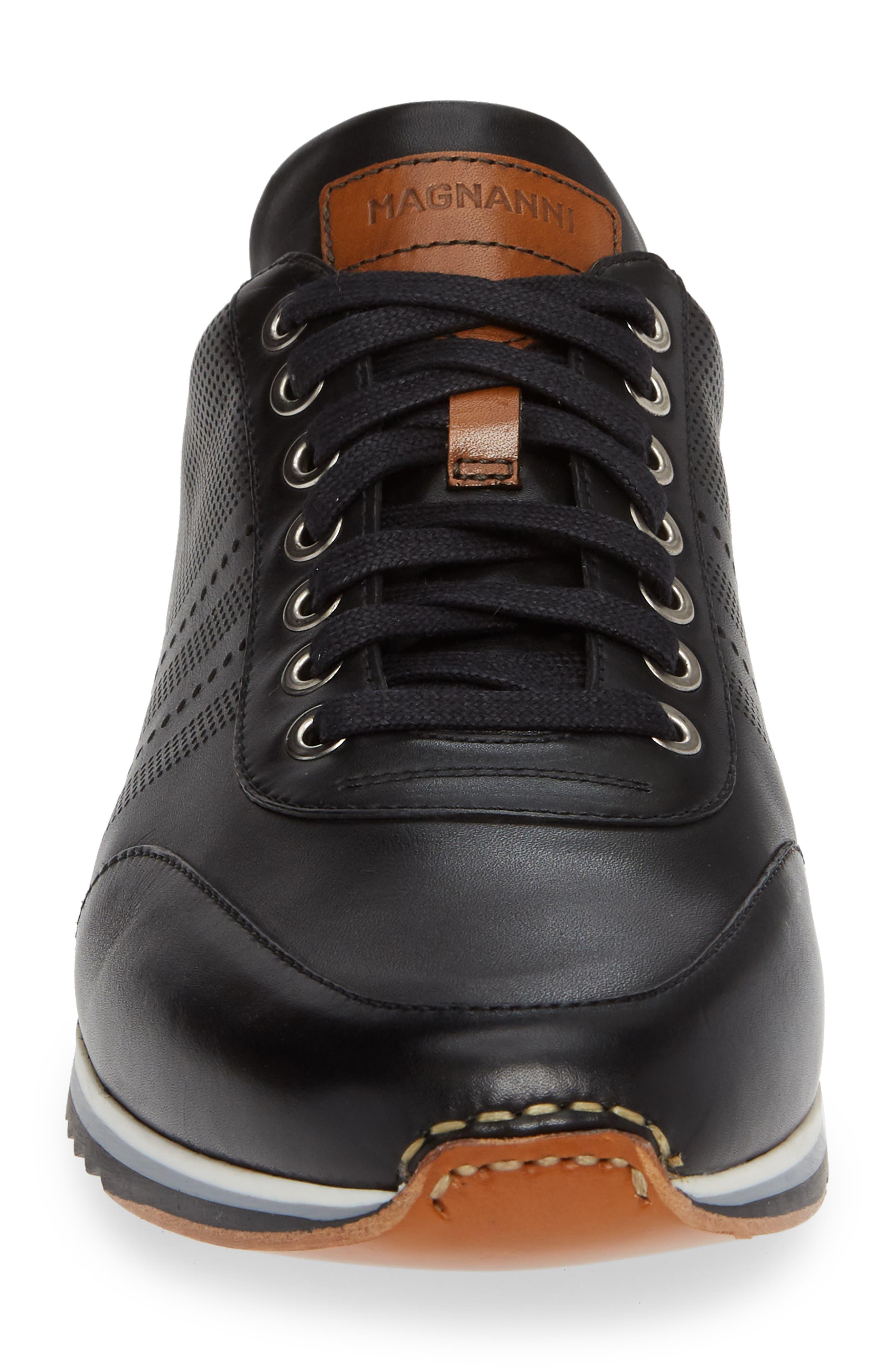 Merino Sneaker,                             Alternate thumbnail 4, color,                             BLACK LEATHER