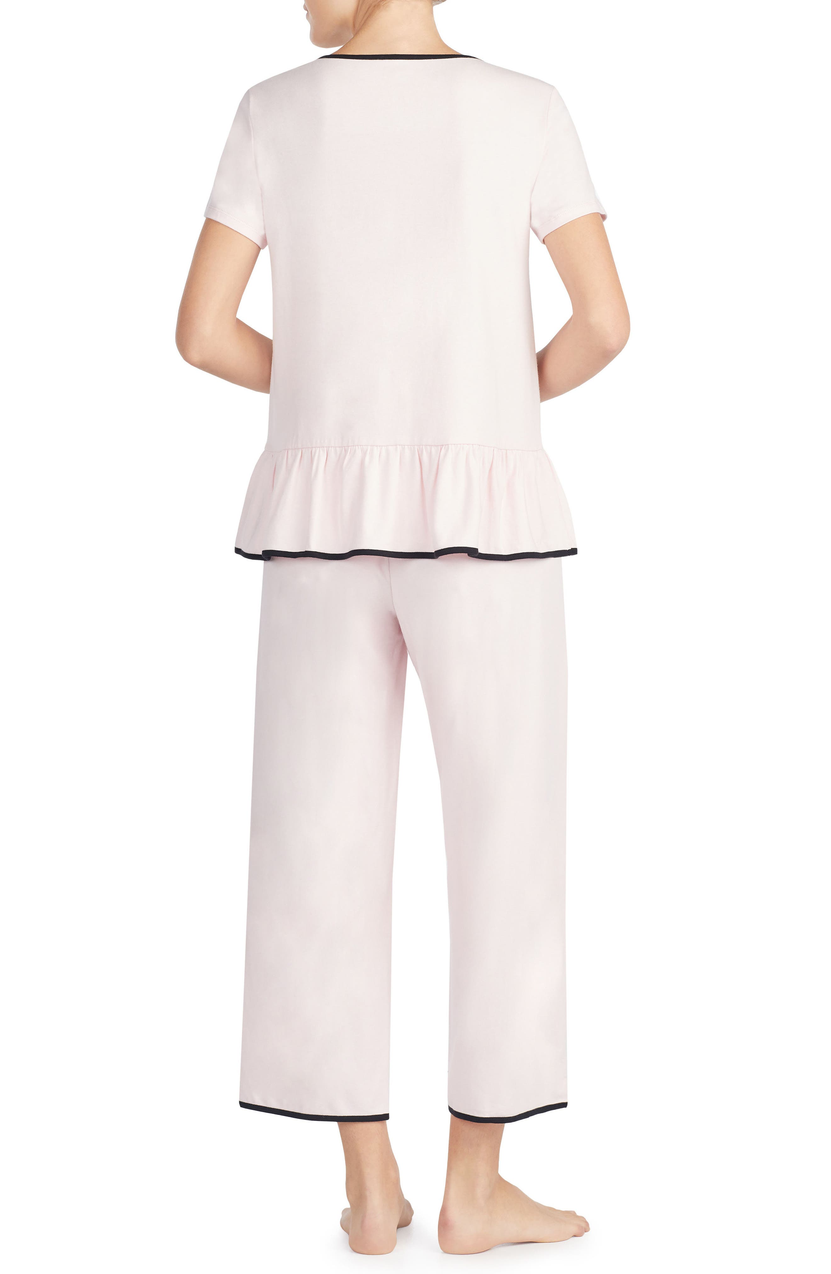 kiss & makeup crop jersey pajamas,                             Alternate thumbnail 2, color,                             690