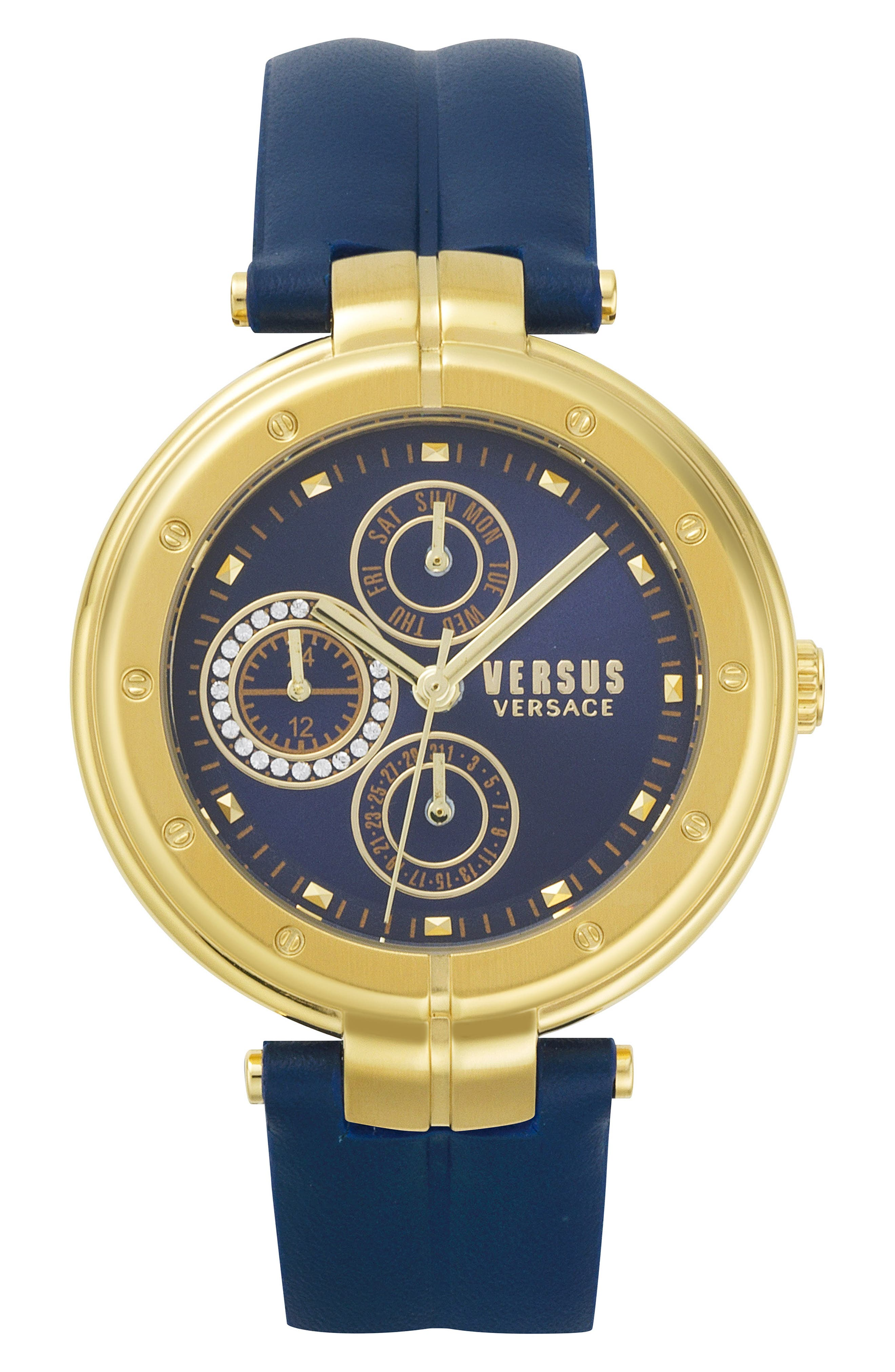 Bellville Leather Strap Watch, 38mm,                         Main,                         color, BLUE/ GOLD
