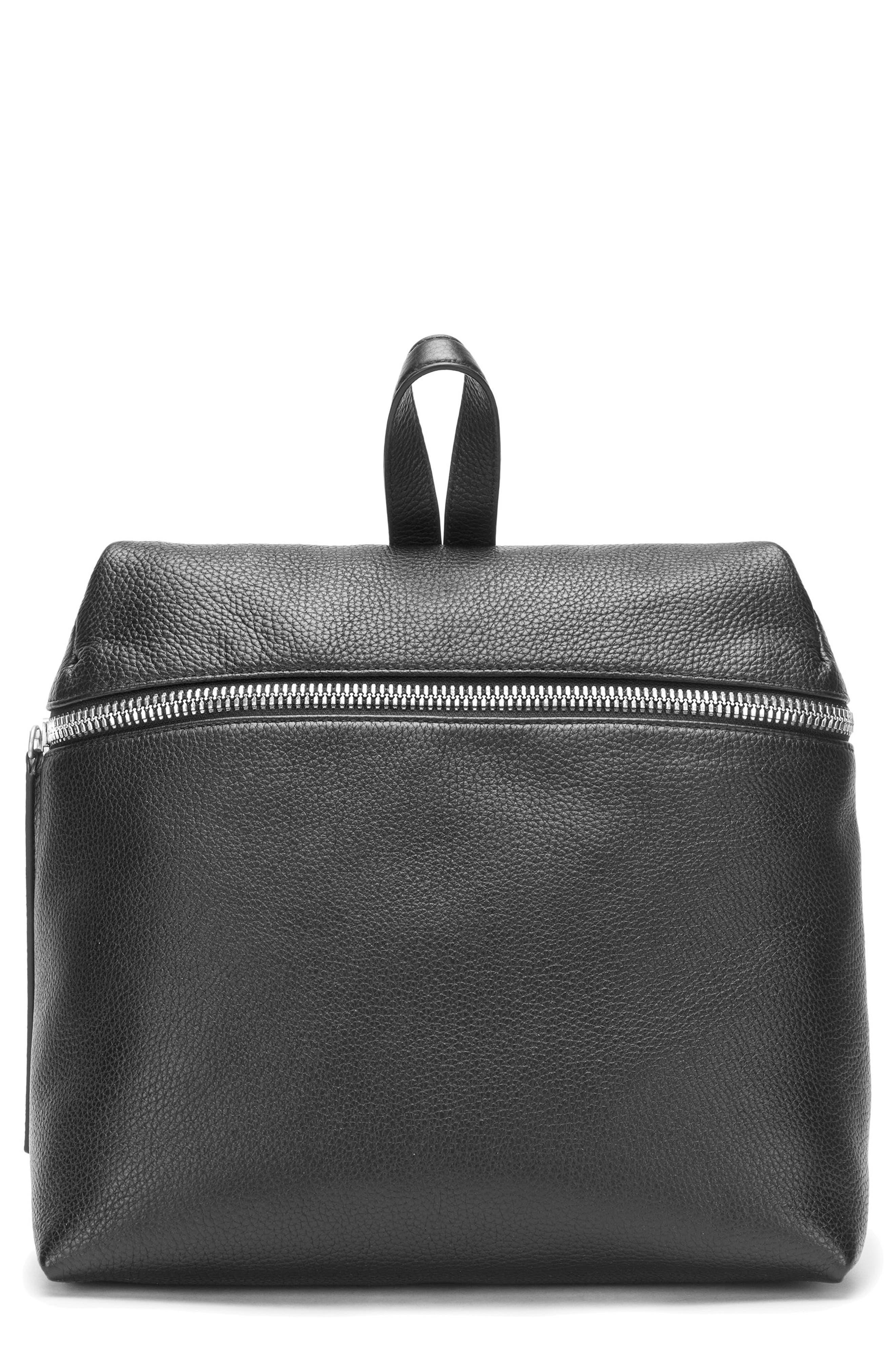 Leather Backpack,                         Main,                         color, BLACK