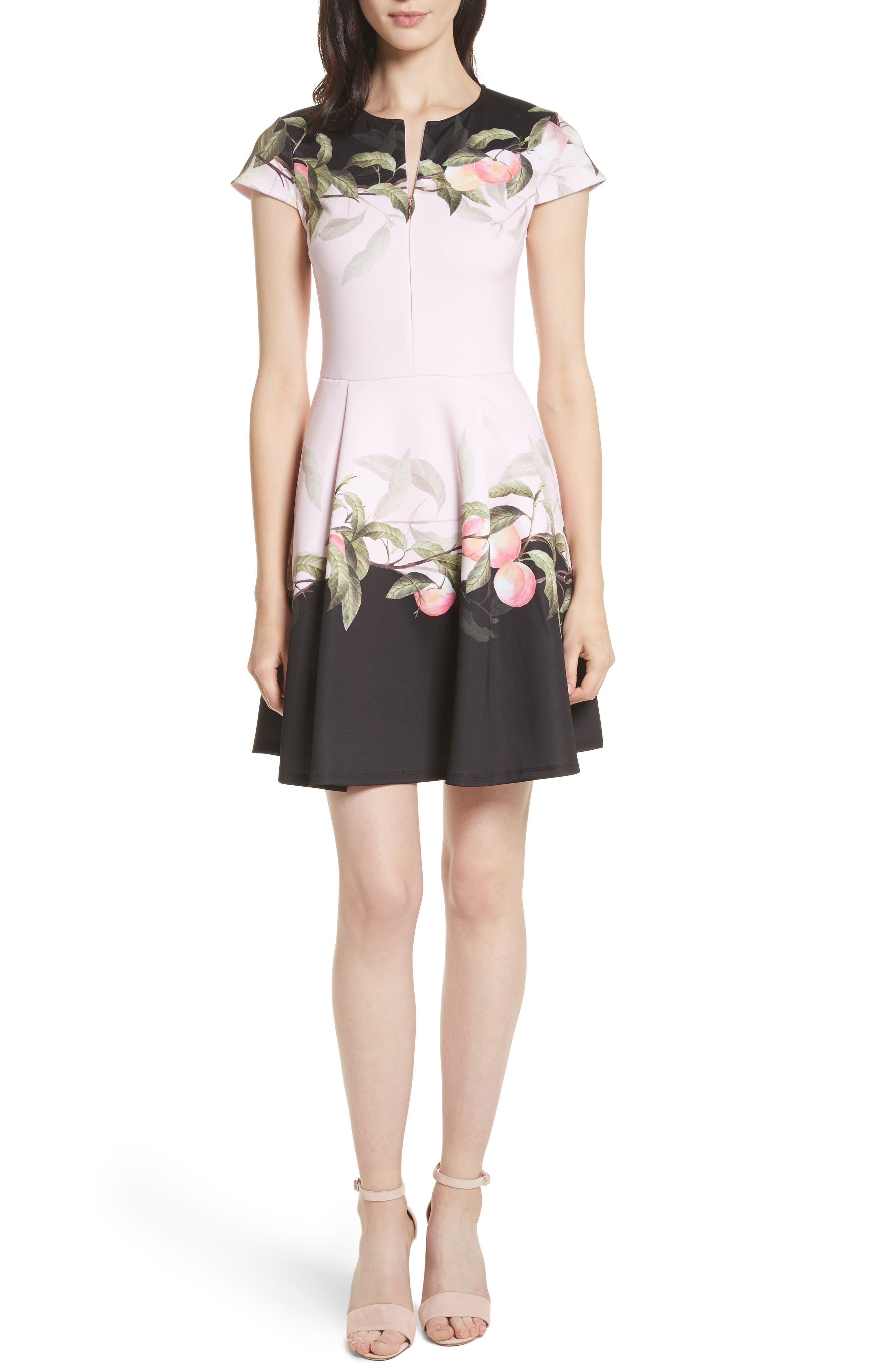 Peach Blossom Jersey Skater Dress,                             Main thumbnail 1, color,                             683