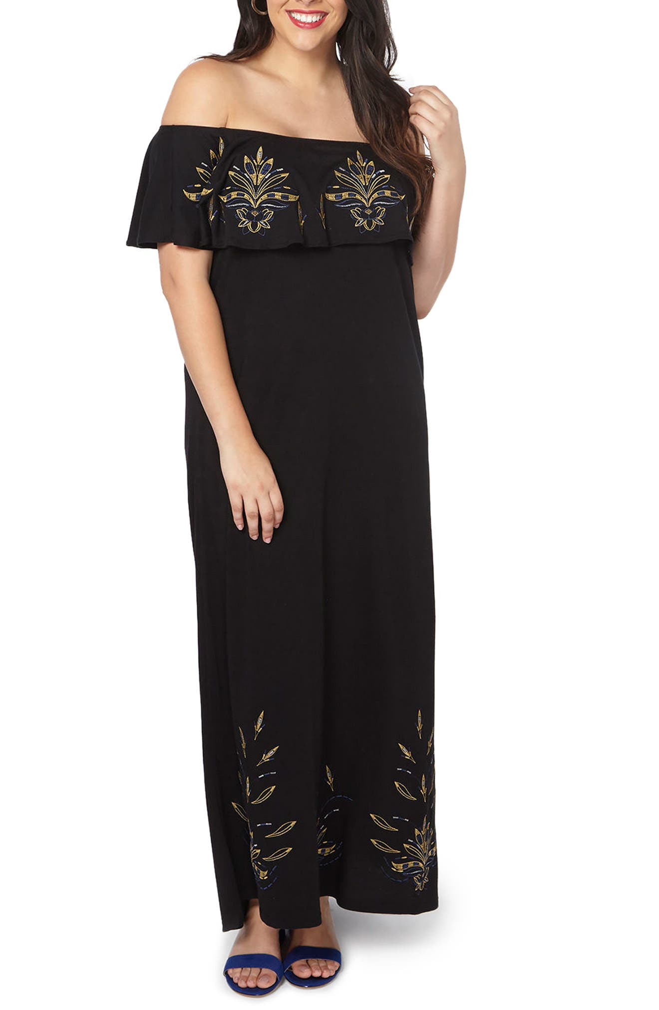 Embroidered Off the Shoulder Maxi Dress,                             Main thumbnail 1, color,                             001