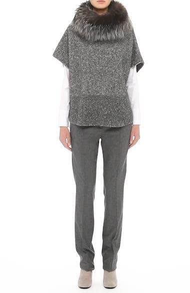Pebble Tweed Knit Poncho with Genuine Fox Fur Collar, video thumbnail