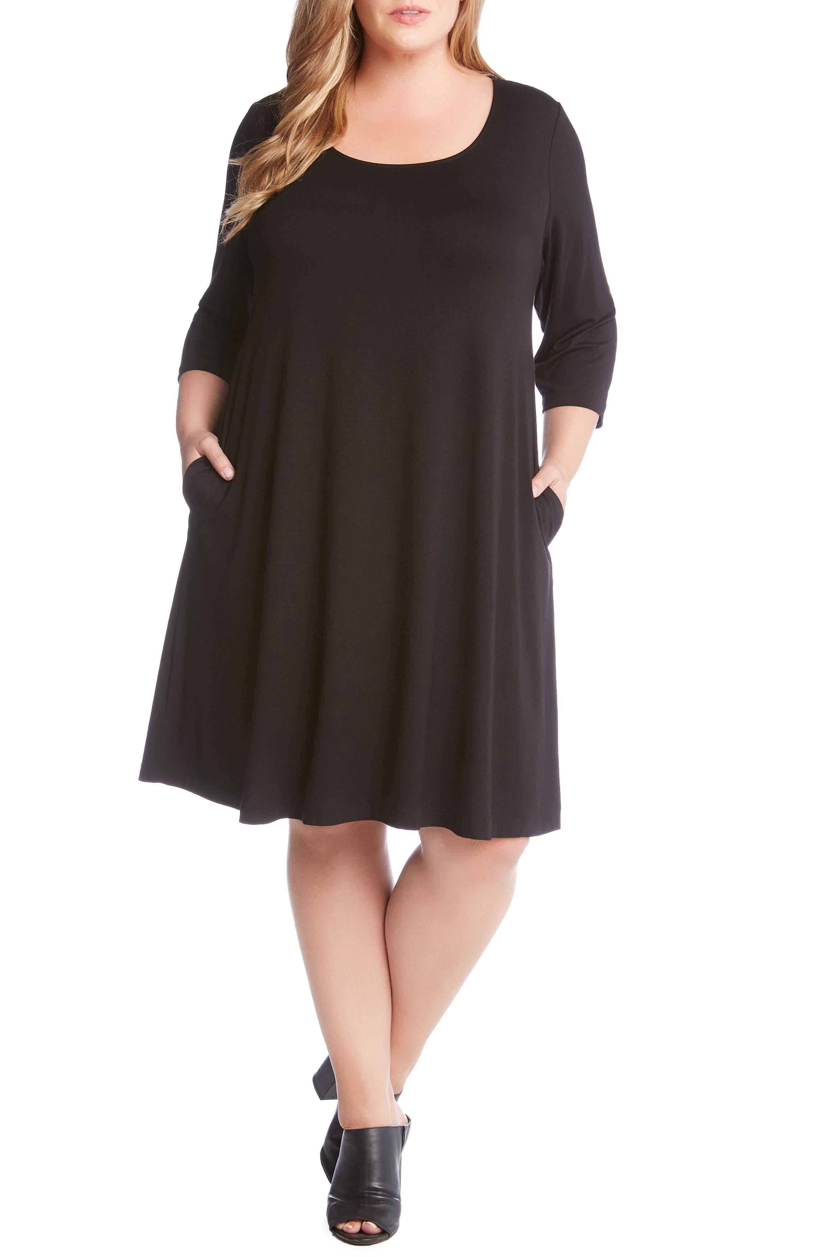 Plus Size Karen Kane Chloe A-Line Dress, Black