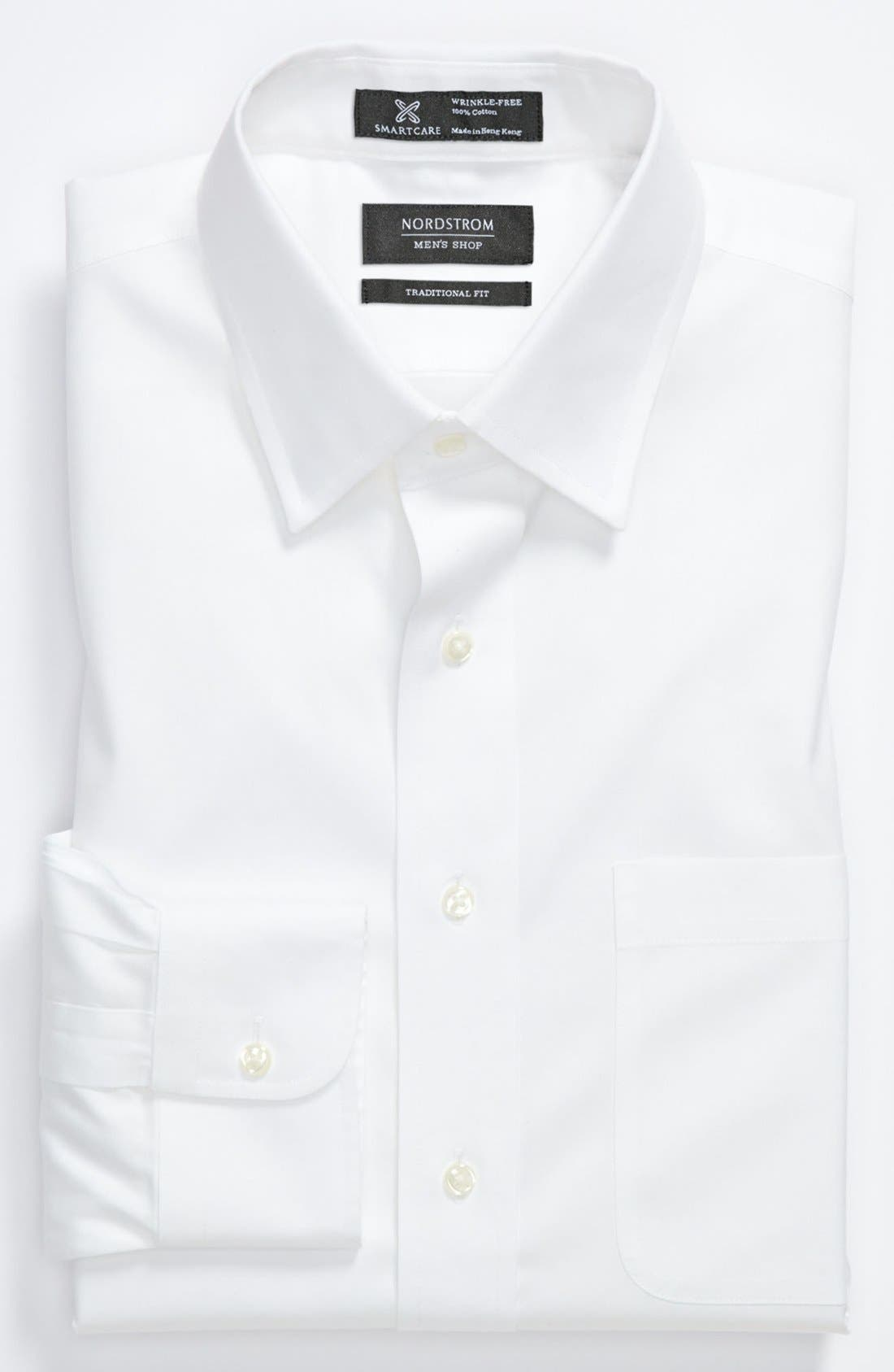 Smartcare<sup>™</sup> Traditional Fit Dress Shirt,                         Main,                         color, WHITE