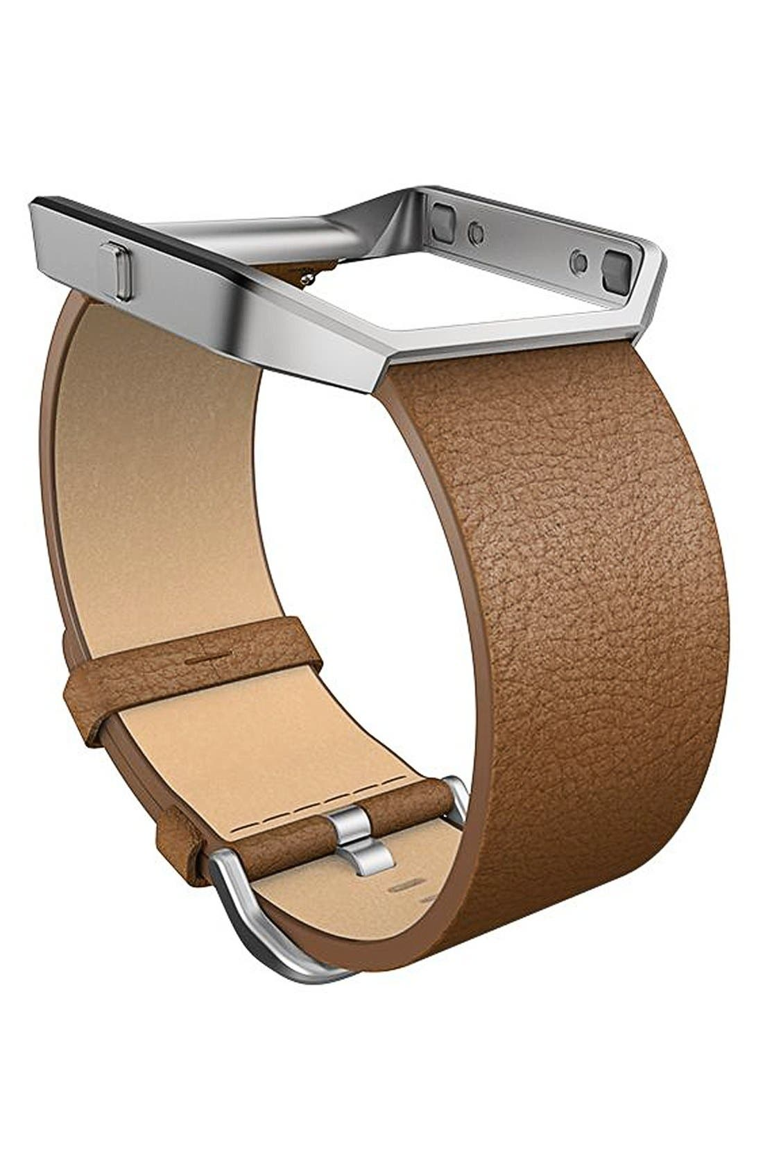 Blaze Leather Smart Watch Band,                             Main thumbnail 1, color,                             250