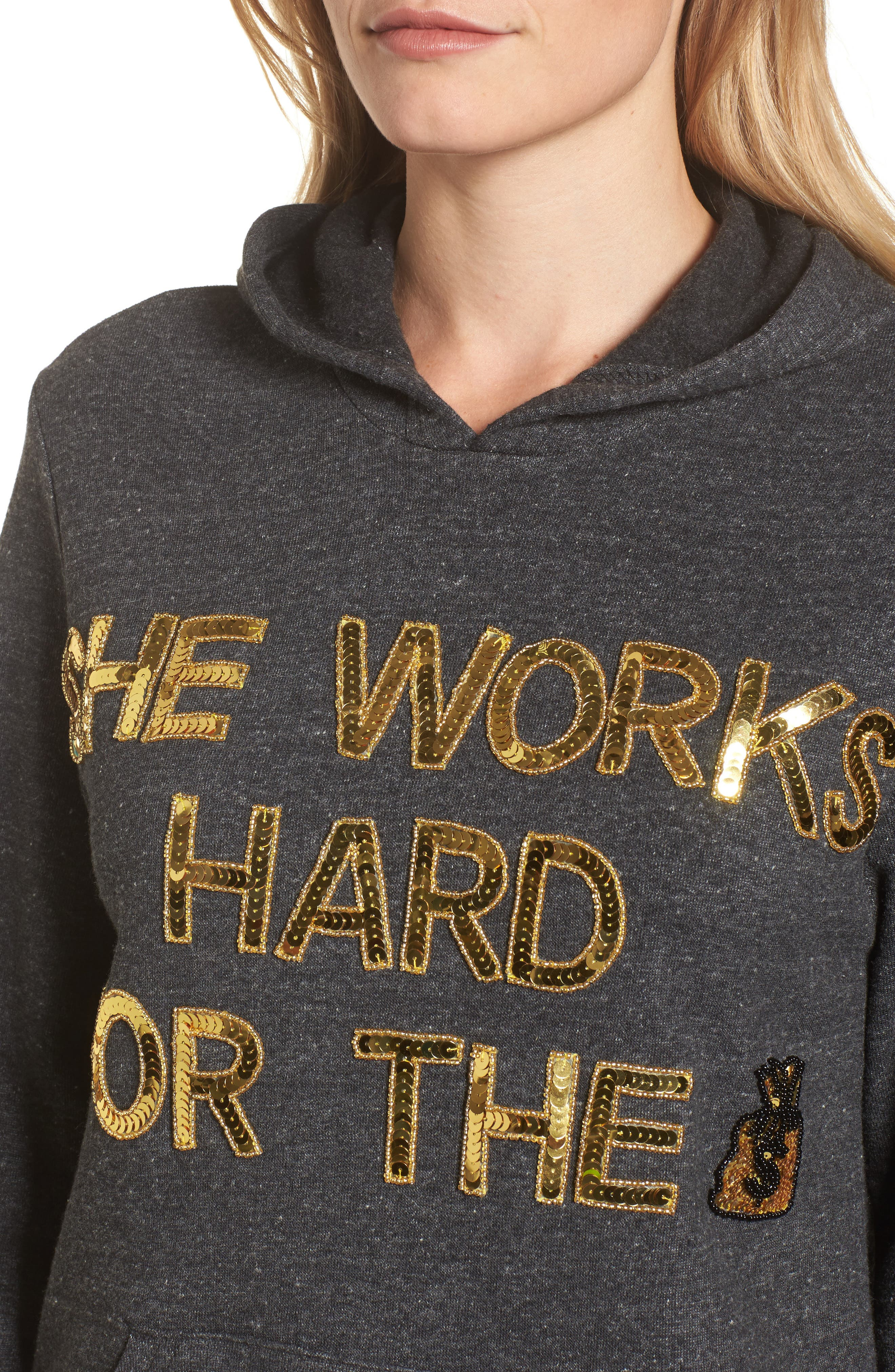 She Works Hard for the Money Hoodie,                             Alternate thumbnail 4, color,                             020
