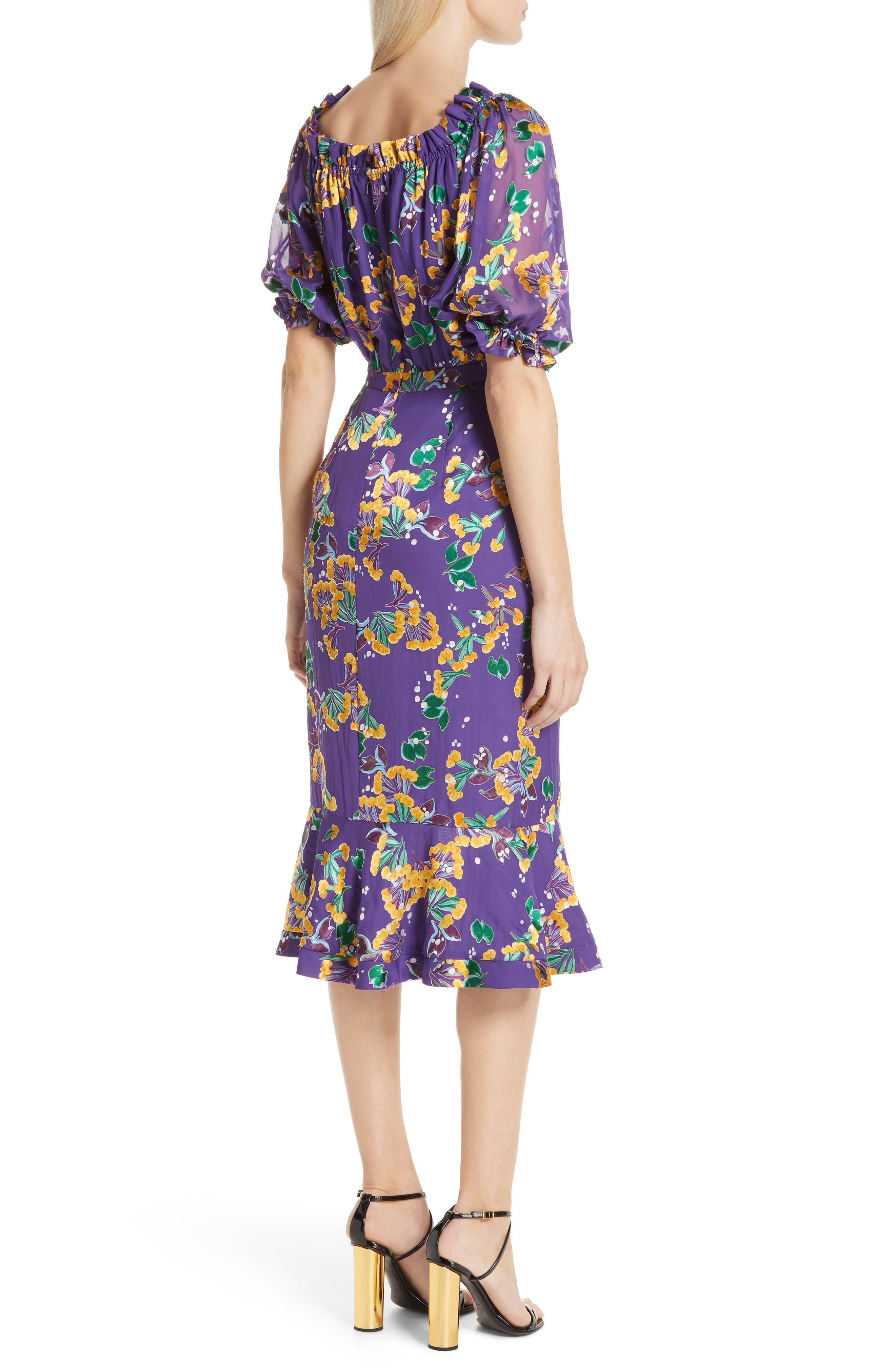 Olivia Silk Blend Midi Dress,                             Alternate thumbnail 2, color,                             VIOLET SWEETPEAS